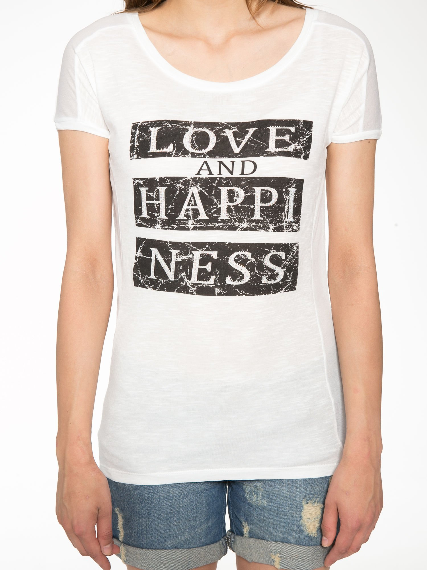 Ecru t-shirt z napisem LOVE AND HAPPINESS                                  zdj.                                  7