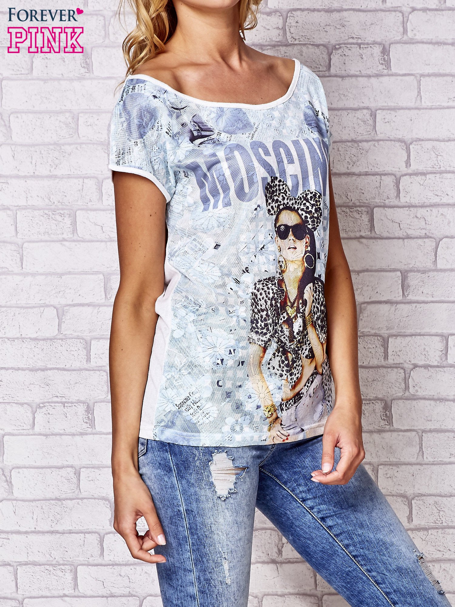 Ecru t-shirt z napisem MOSCINO                                  zdj.                                  3