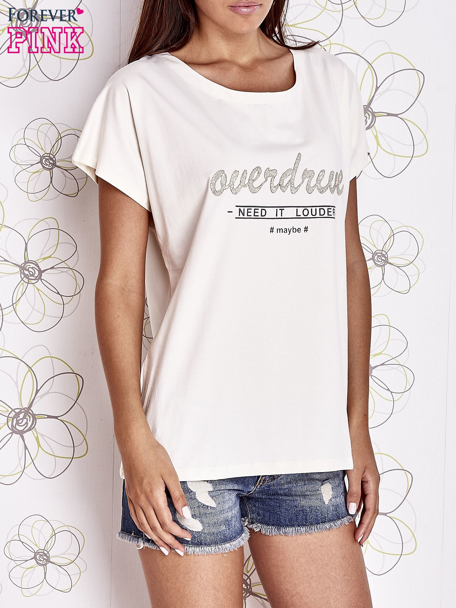 Ecru t-shirt z napisem NEED IT LOUDER                                  zdj.                                  1
