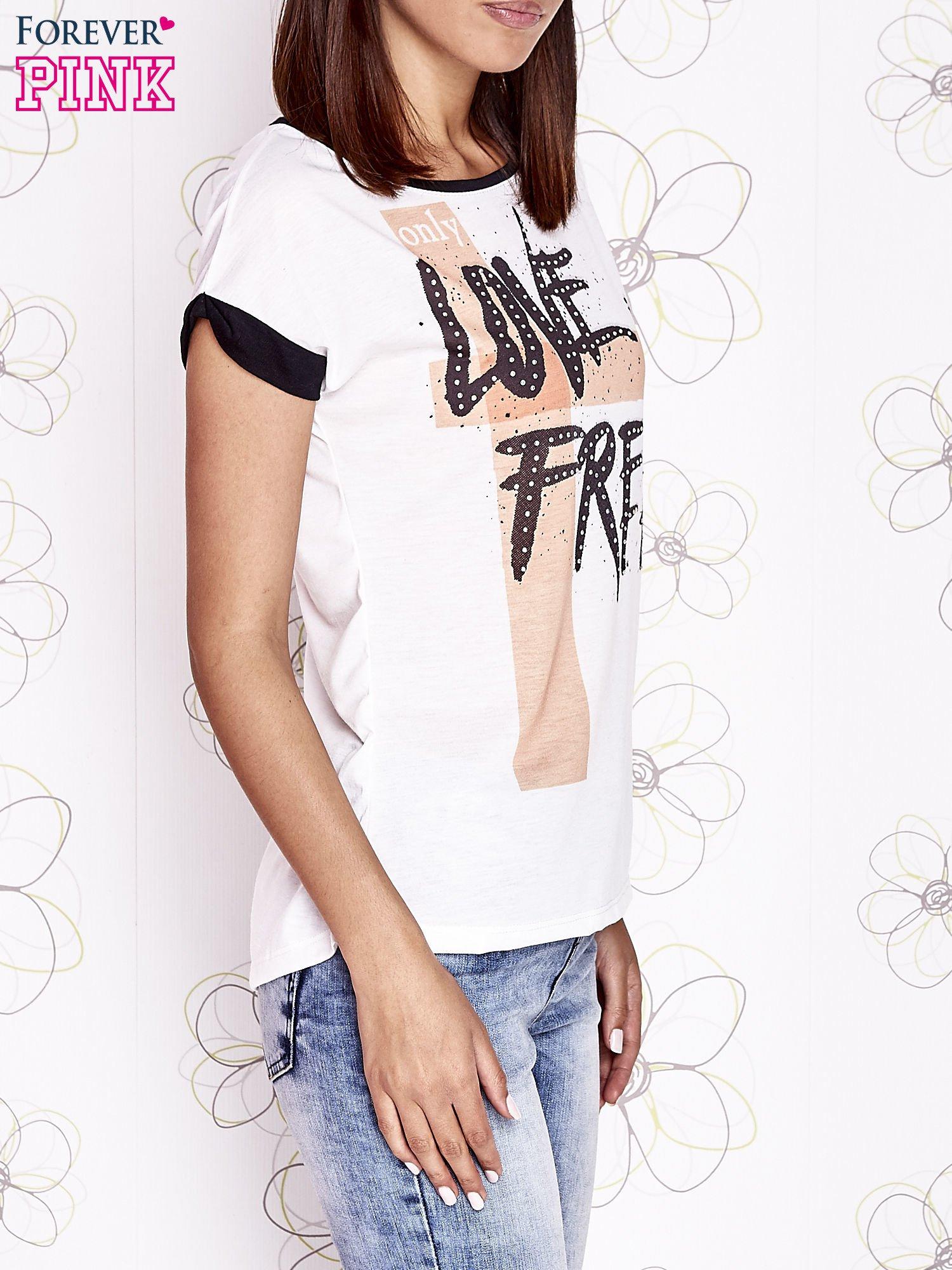 Ecru t-shirt z napisem ONLY LOVE IS FOR FREE                                  zdj.                                  3