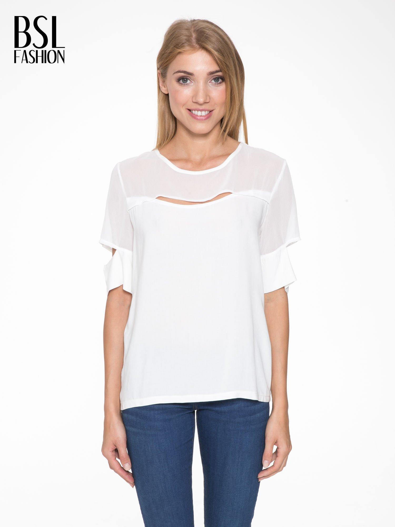 Ecru t-shirt z siateczką i rękawami typu cut out shoulder                                  zdj.                                  1