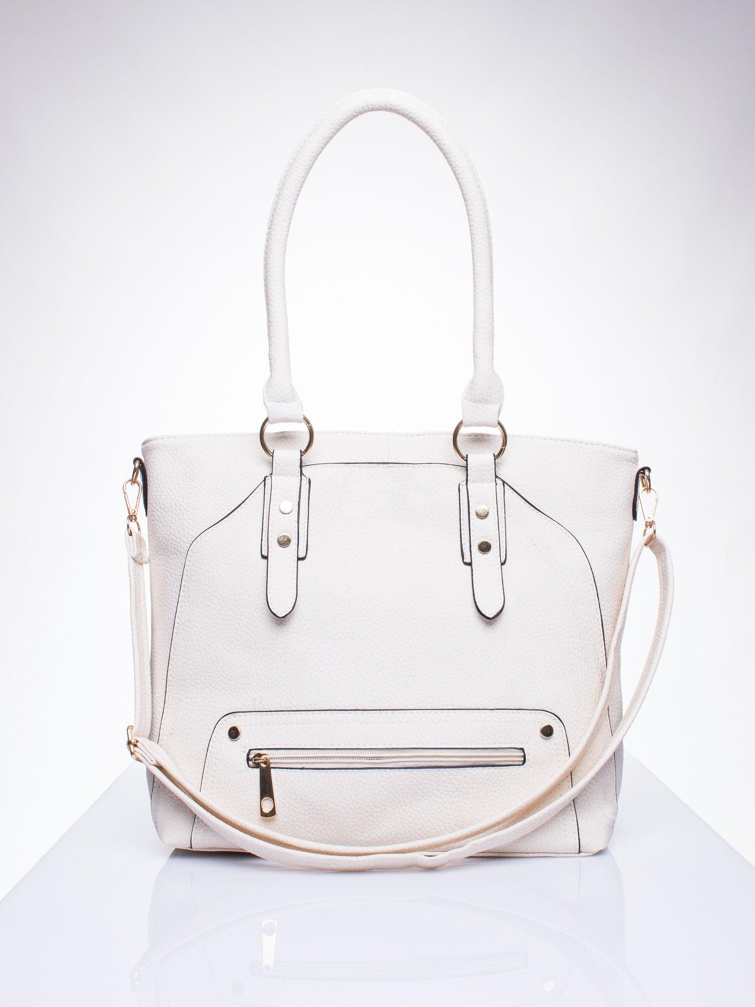 Ecru torba shopper bag z suwakiem                                  zdj.                                  1