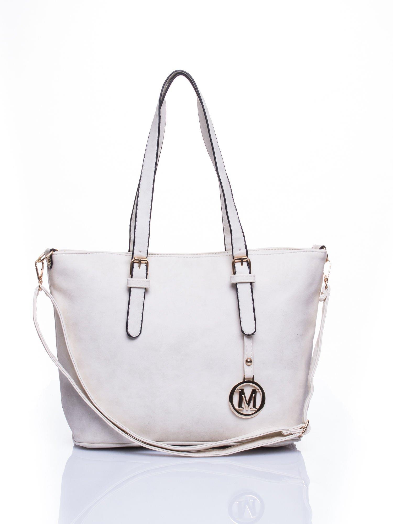 Ecru torba shopper bag z zawieszką                                  zdj.                                  1