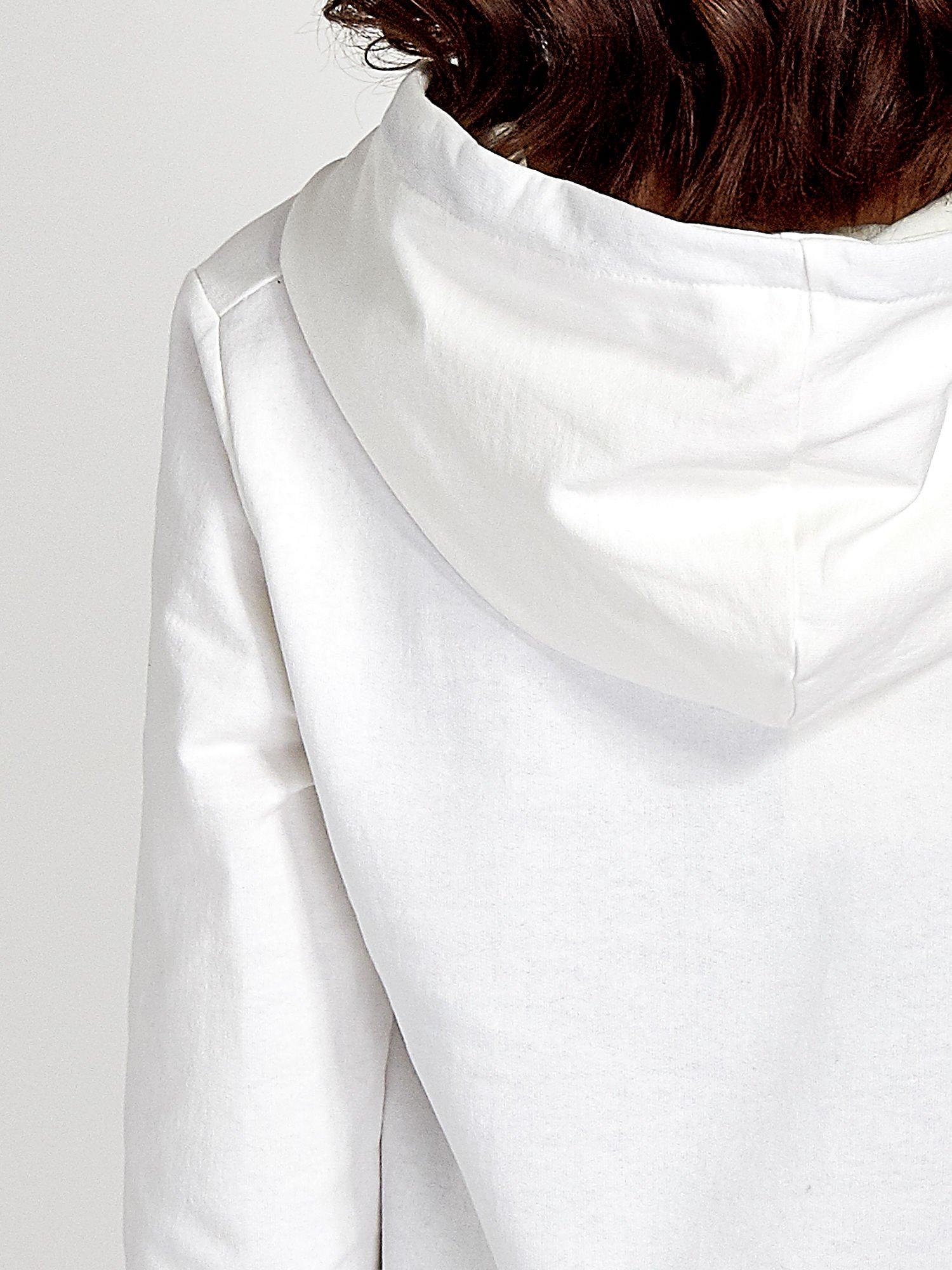 Ecru zasuwana bluza z kapturem z napisem STYLISH & LOVABLE                                  zdj.                                  8