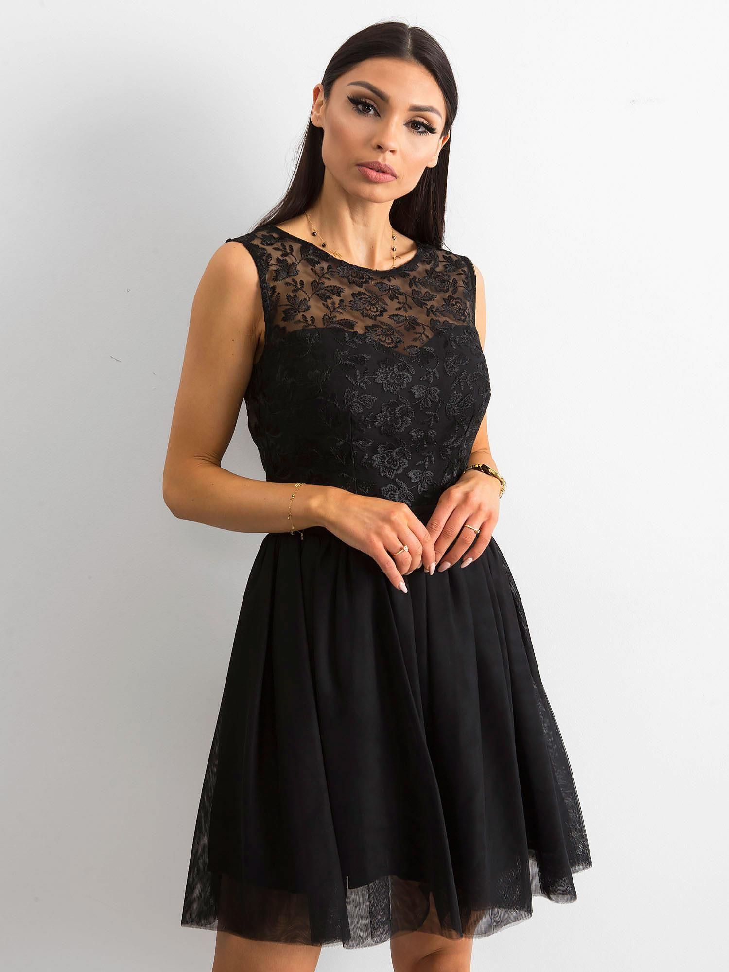 fb91143a2fc19f Elegancka sukienka z koronką czarna - Sukienka wieczorowa - sklep eButik.pl