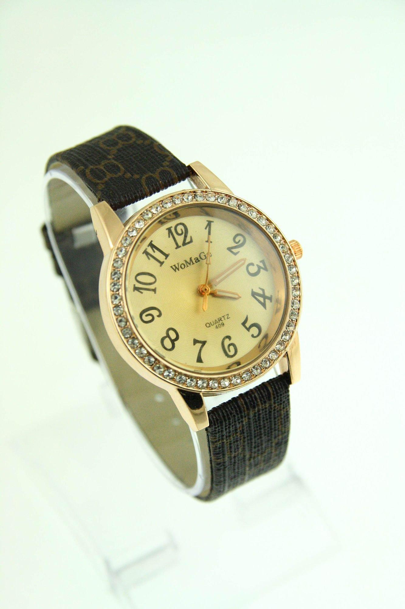 Elegancki damski zegarek z cyrkoniami                                  zdj.                                  1