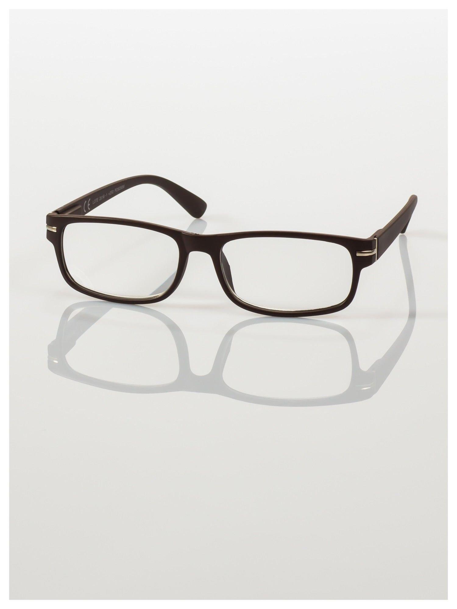 Eleganckie brązowe matowe korekcyjne okulary do czytania +2.0 D  z sytemem FLEX na zausznikach                                  zdj.                                  2