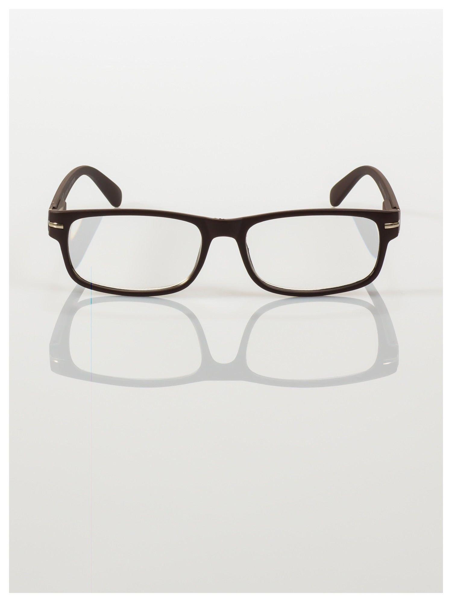 Eleganckie brązowe matowe korekcyjne okulary do czytania +3.0 D  z sytemem FLEX na zausznikach                                  zdj.                                  3