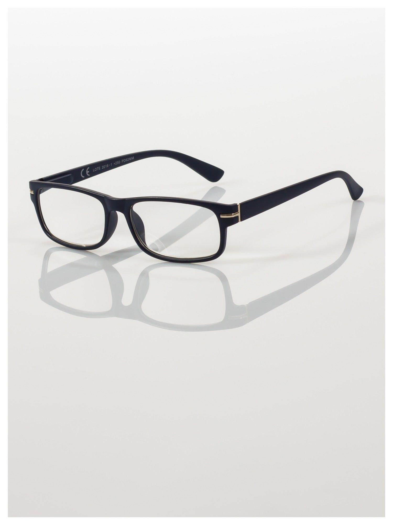 Eleganckie granatowe matowe korekcyjne okulary do czytania +3.5 D  z sytemem FLEX na zausznikach                                  zdj.                                  1