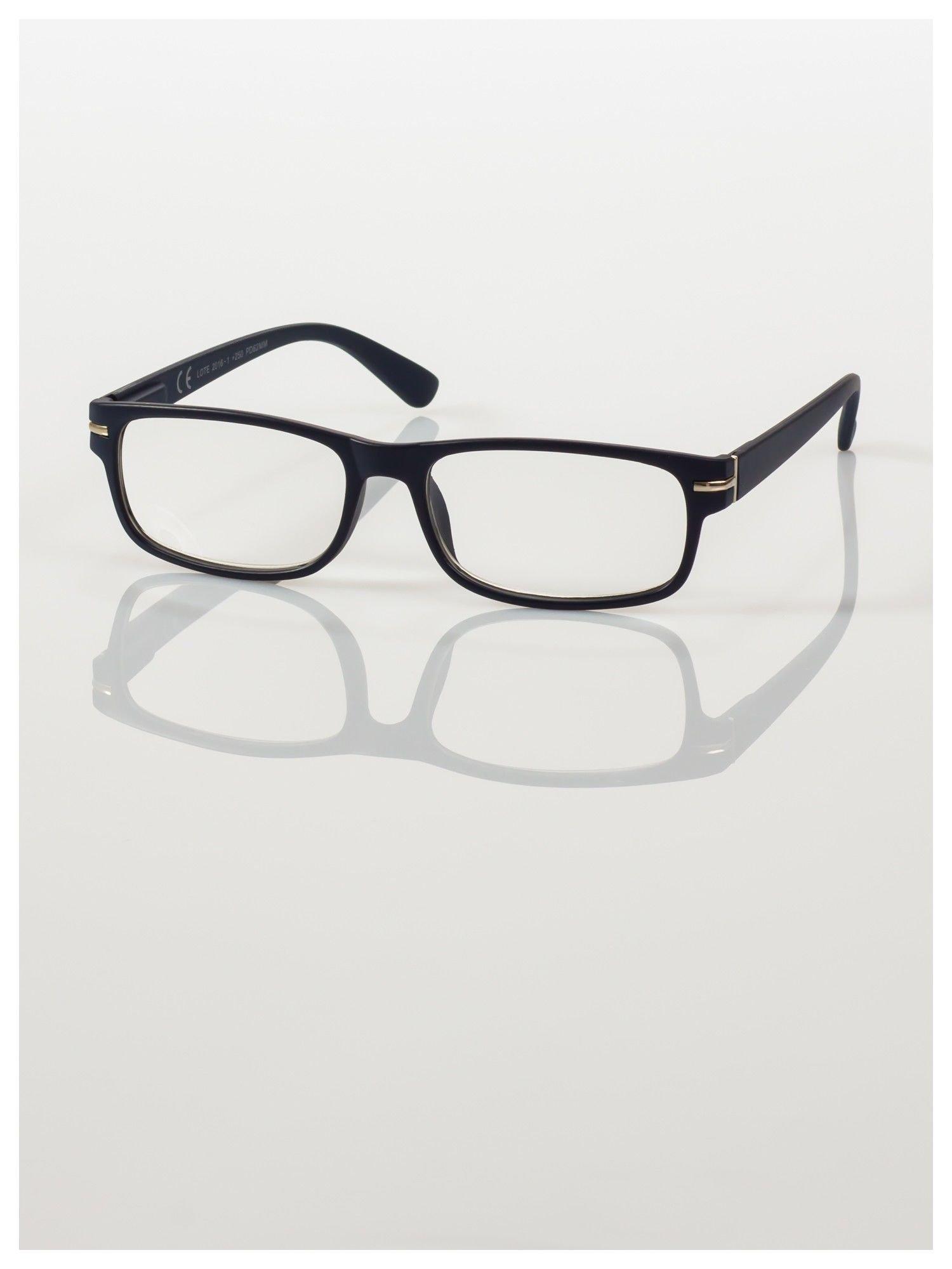Eleganckie granatowe matowe korekcyjne okulary do czytania +4.0 D  z sytemem FLEX na zausznikach                                  zdj.                                  2
