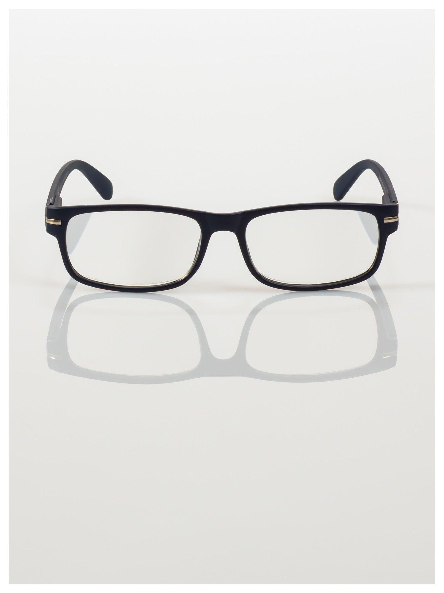 Eleganckie granatowe matowe korekcyjne okulary do czytania +4.0 D  z sytemem FLEX na zausznikach                                  zdj.                                  3