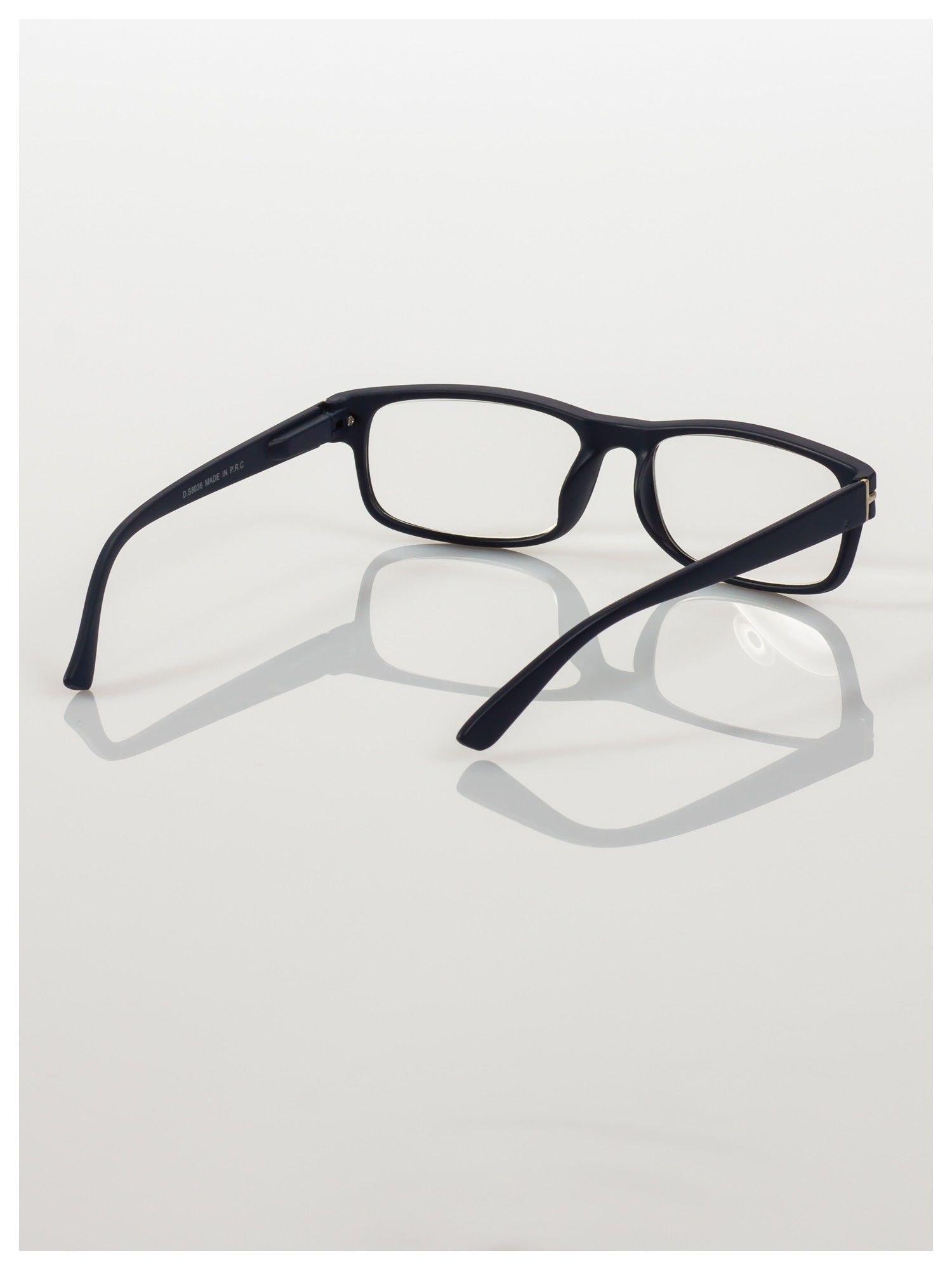 Eleganckie granatowe matowe korekcyjne okulary do czytania +4.0 D  z sytemem FLEX na zausznikach                                  zdj.                                  4