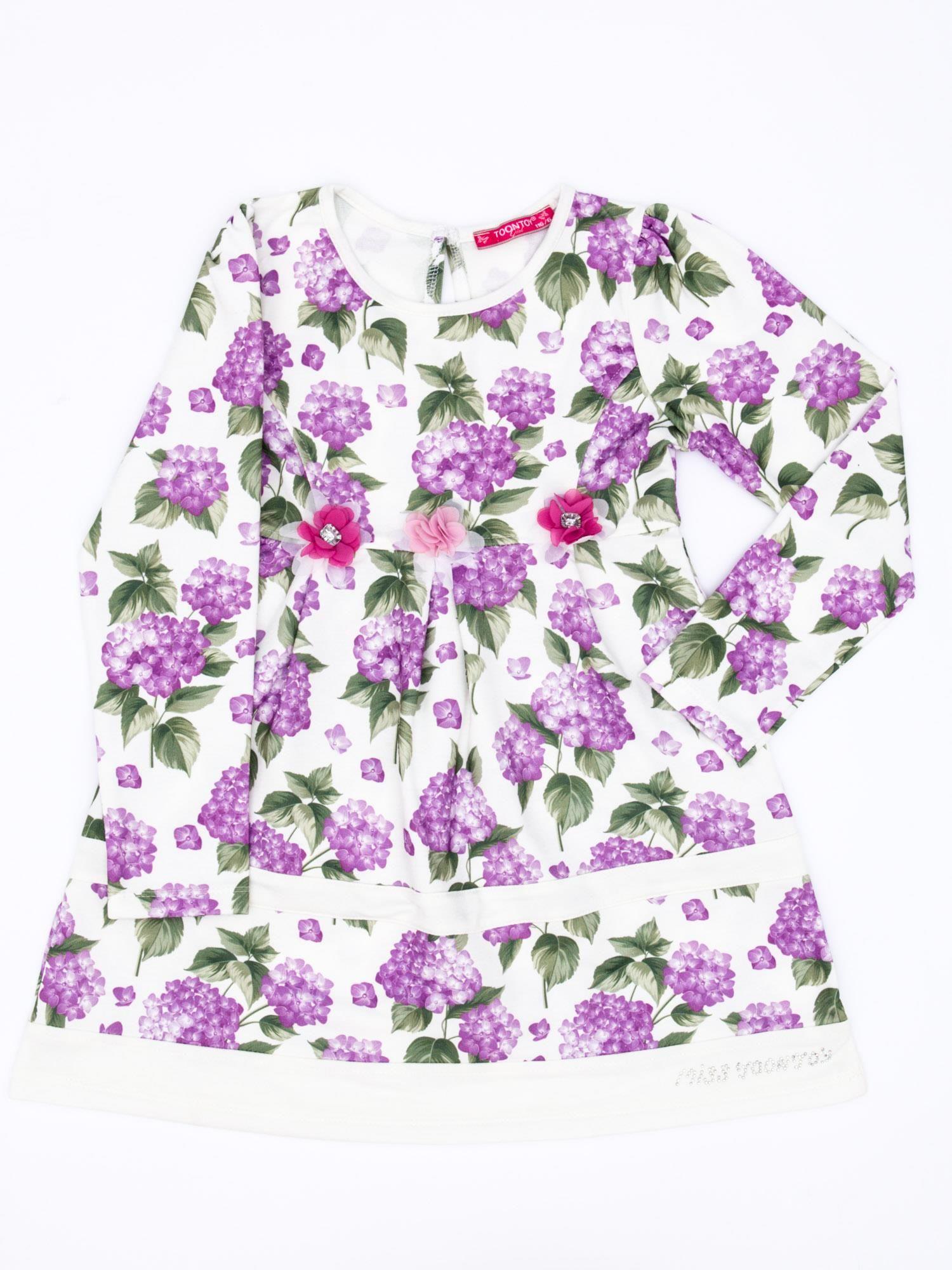 35b683aeb8 Fioletowa sukienka dla dziewczynki w kwiaty z tiulową aplikacją ...