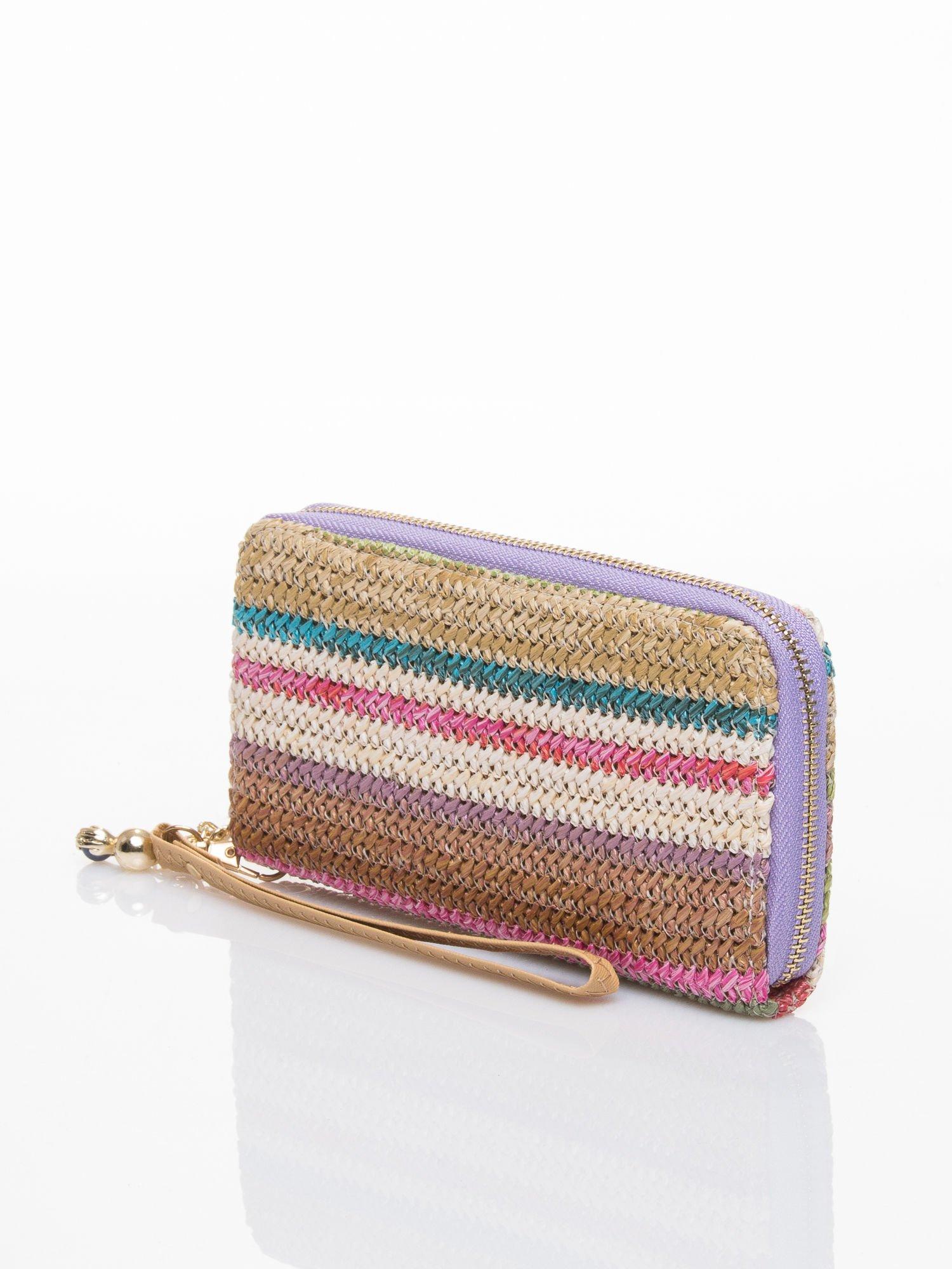 Fioletowy pleciony portfel w paski                                  zdj.                                  2