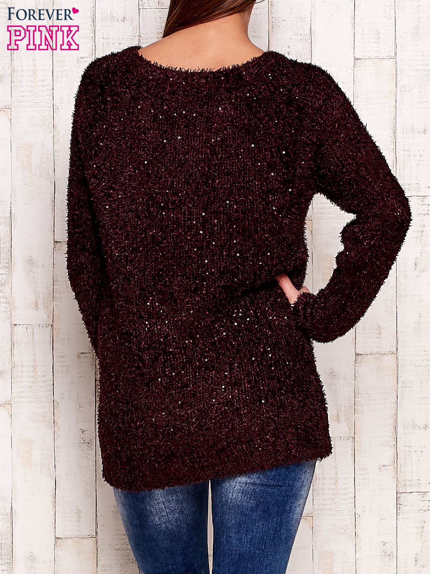 Fioletowy sweter fluffy z cekinami                                  zdj.                                  4