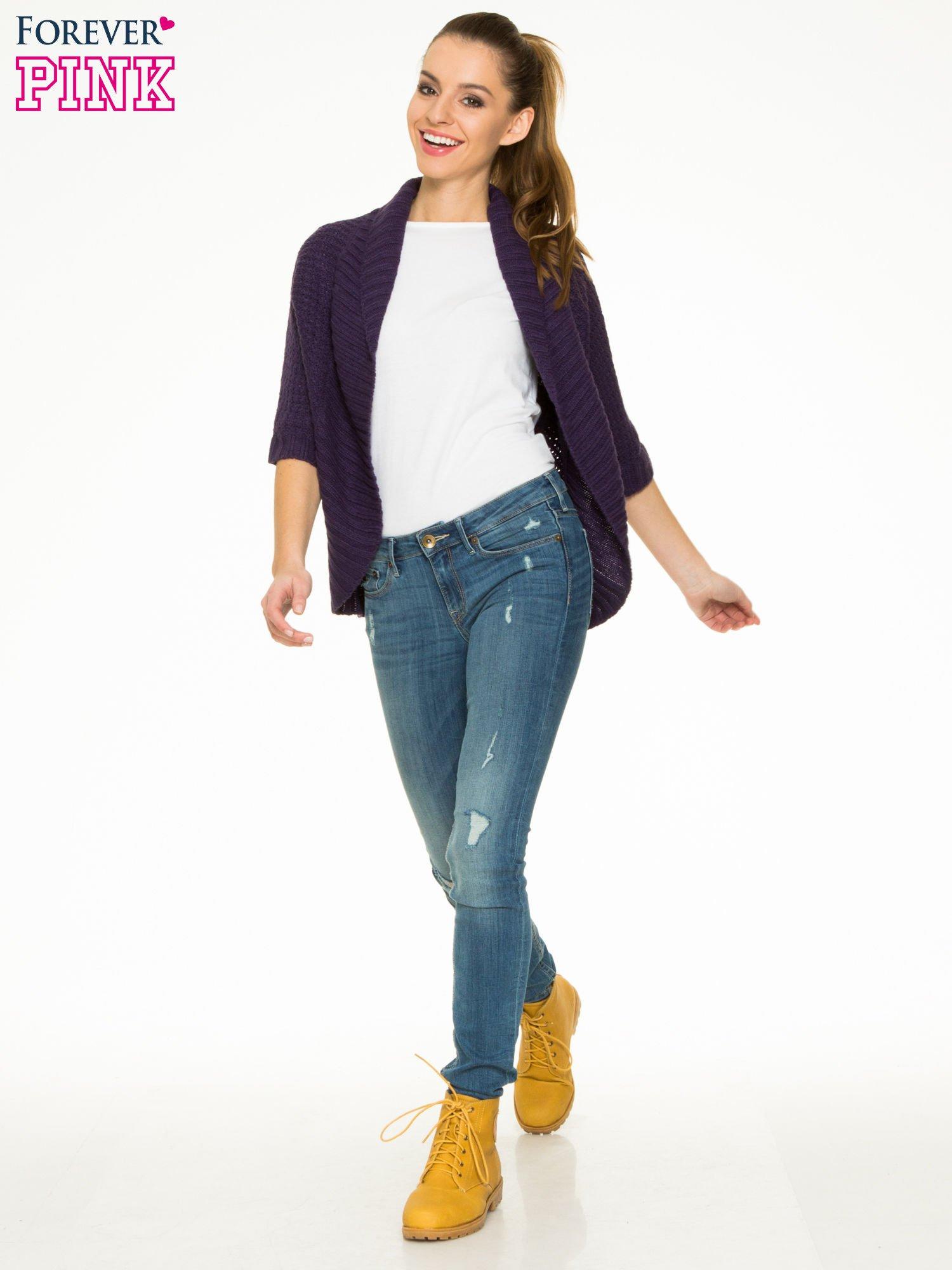 Fioletowy sweter narzutka z rękawem 3/4                                  zdj.                                  2