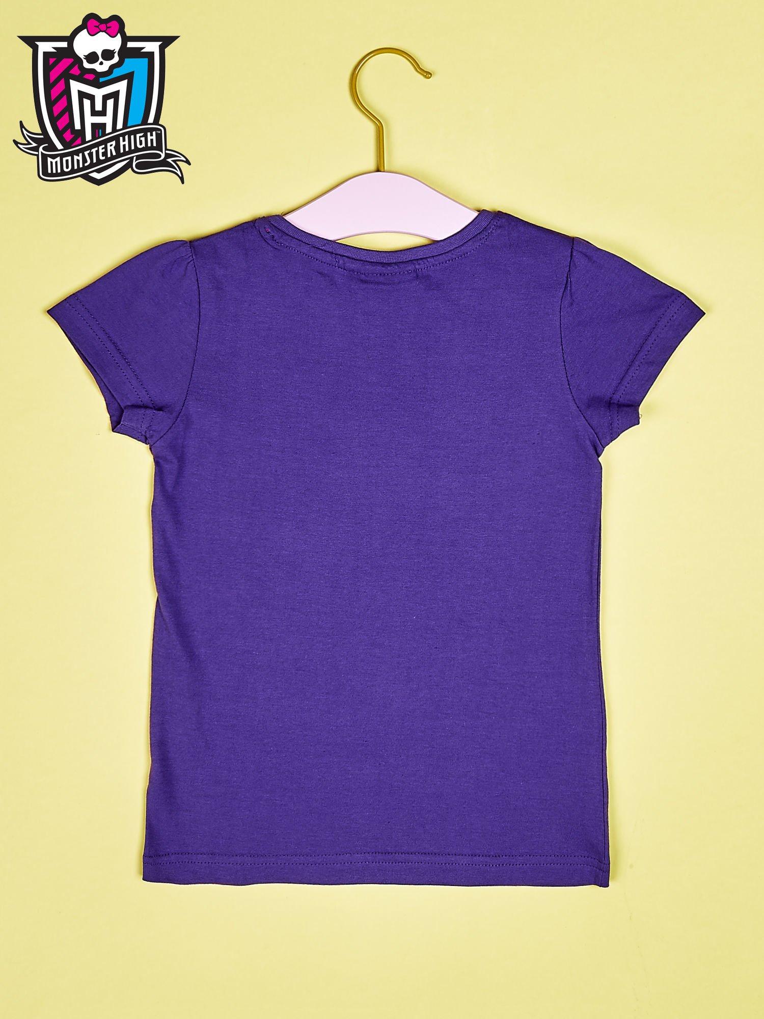 Fioletowy t-shirt dla dziewczynki MONSTER HIGH z brokatowym nadrukiem                                  zdj.                                  2