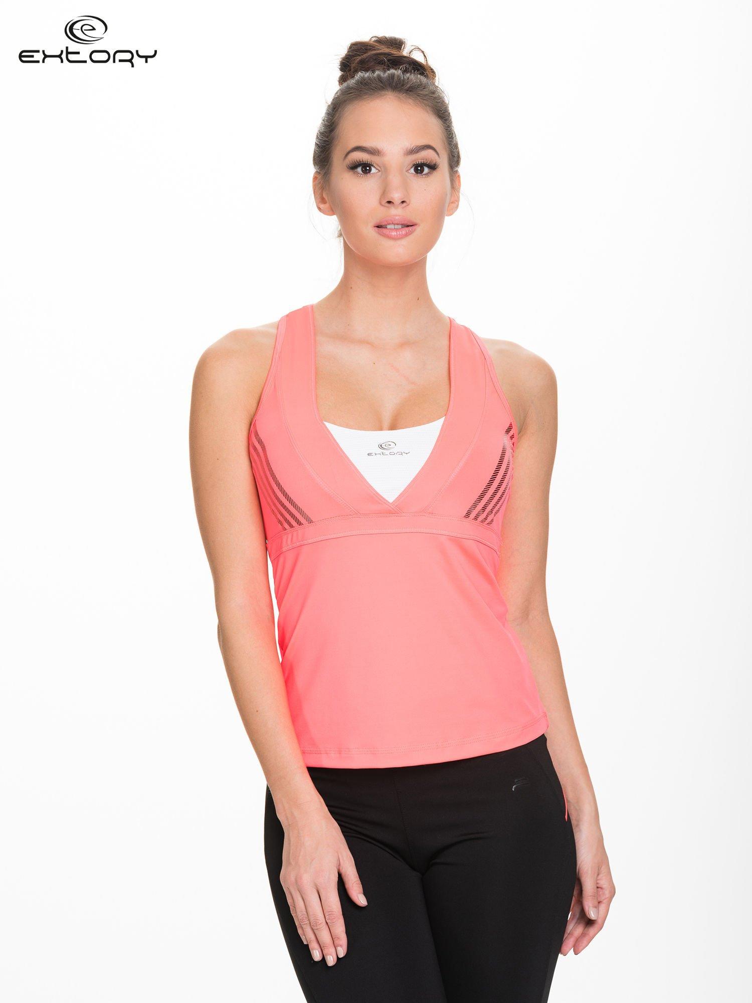 Fluokoralowy top sportowy z krzyżowanymi ramiączkami na plecach                                  zdj.                                  1