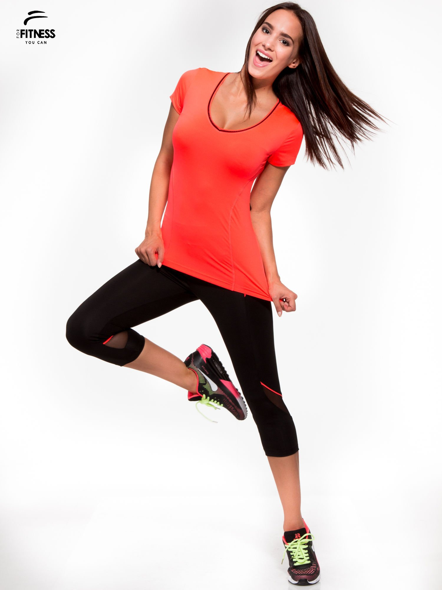 Fluoróżowy termoaktywny t-shirt sportowy z siateczką przy dekolcie i z tyłu ♦ Performance RUN                                  zdj.                                  5