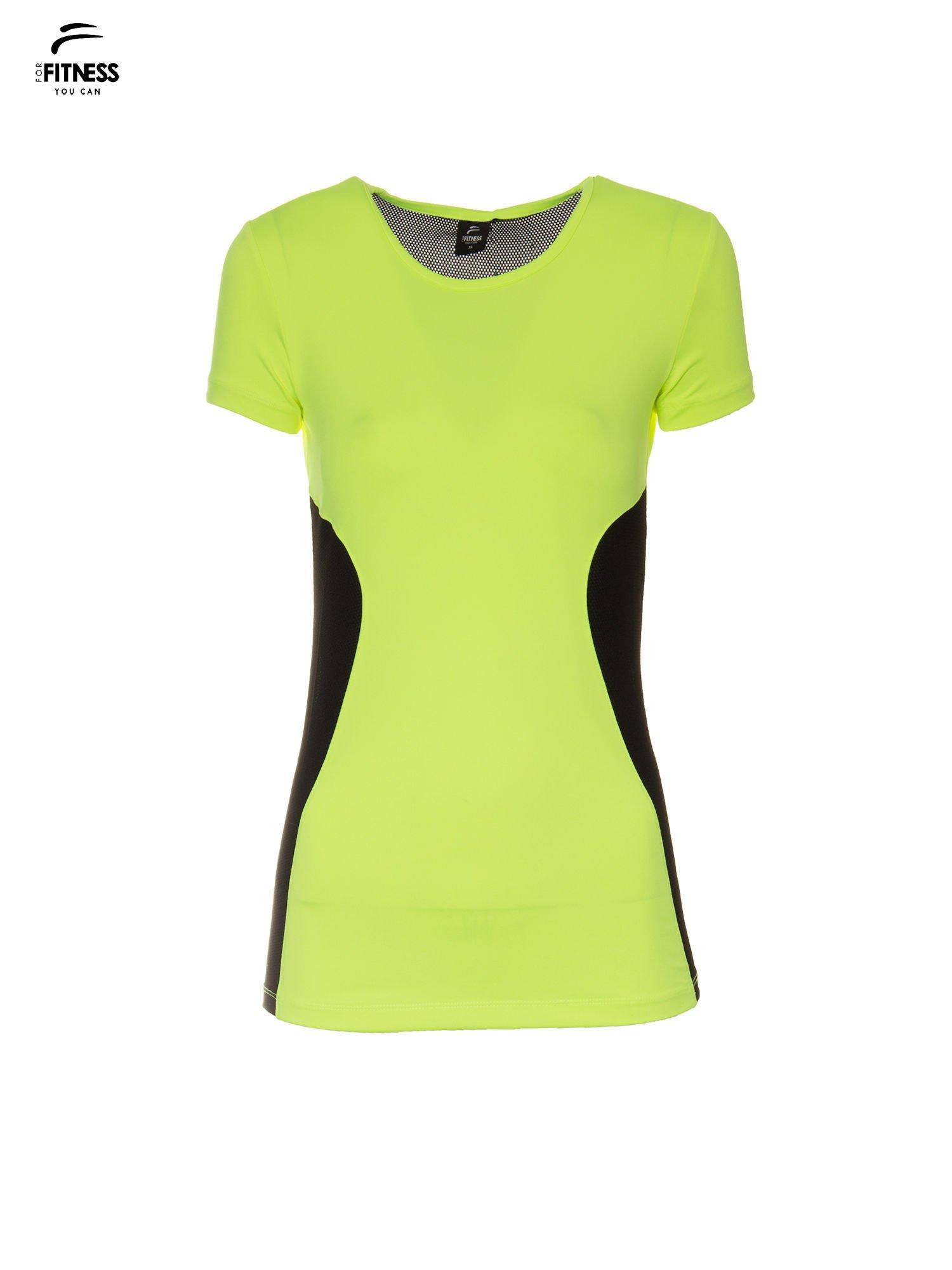 Fluozielony termoaktywny t-shirt sportowy z siateczkowymi modułami ♦ Performance RUN                                  zdj.                                  2