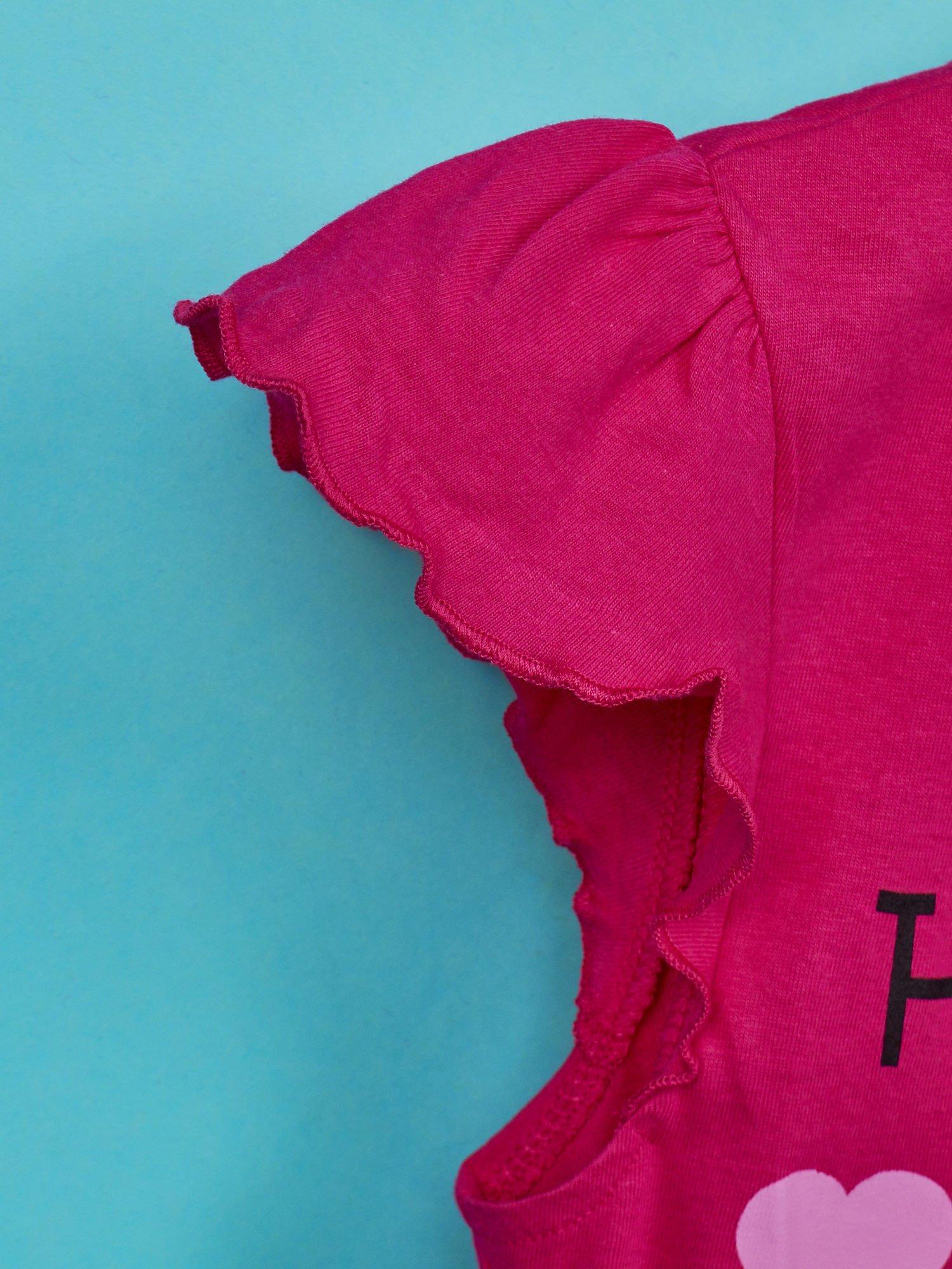 Fuksjowy t-shirt dla dziewczynki z falbankami HELLO KITTY                                  zdj.                                  6