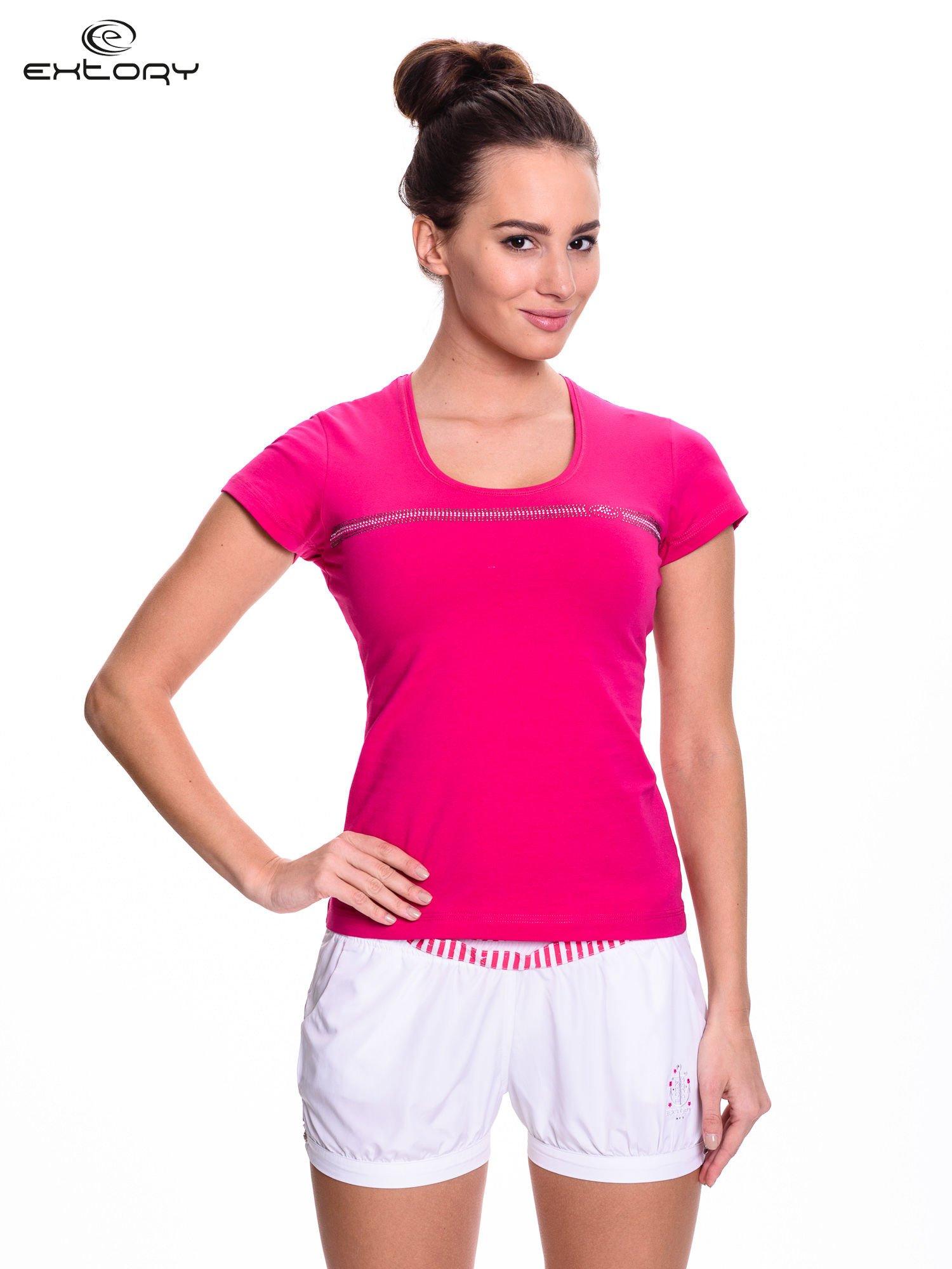 Fuksjowy t-shirt sportowy z paskiem z dżetów                                  zdj.                                  1