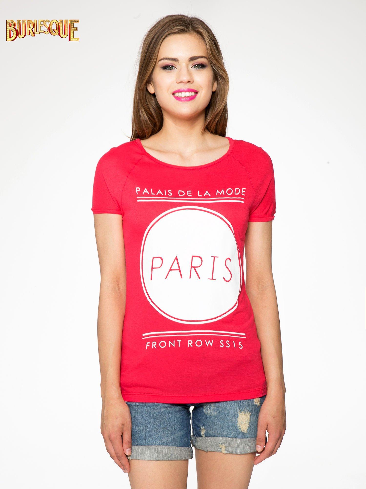 Fuksjowy t-shirt z nadrukiem PARIS                                  zdj.                                  10