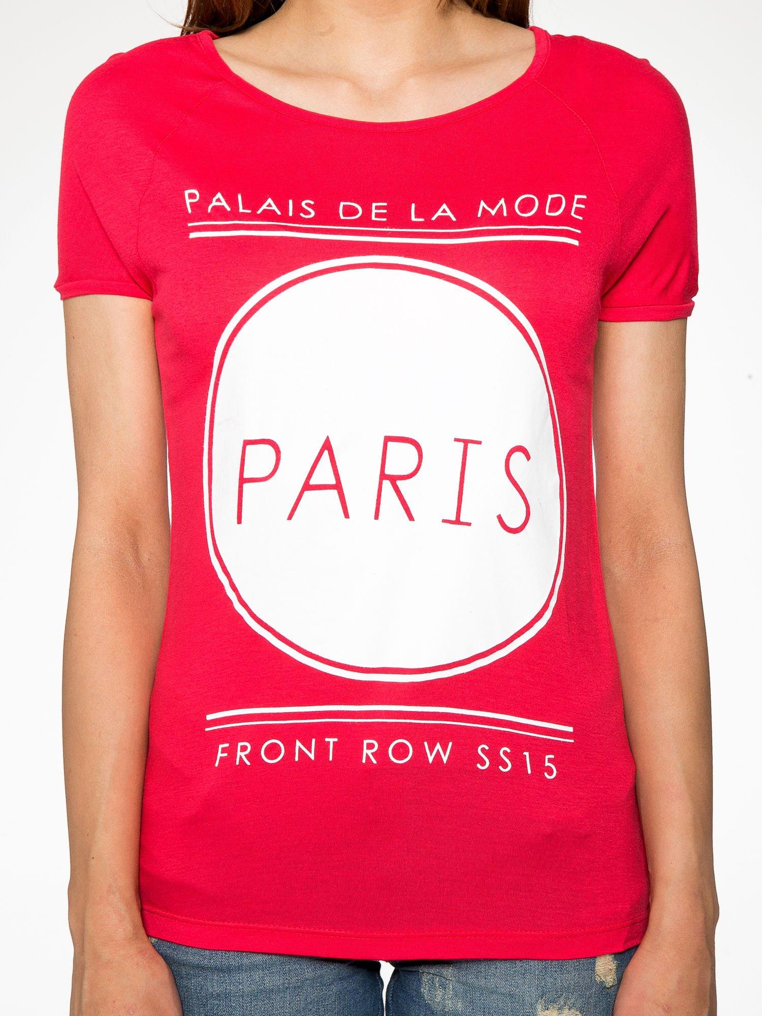 Fuksjowy t-shirt z nadrukiem PARIS                                  zdj.                                  7