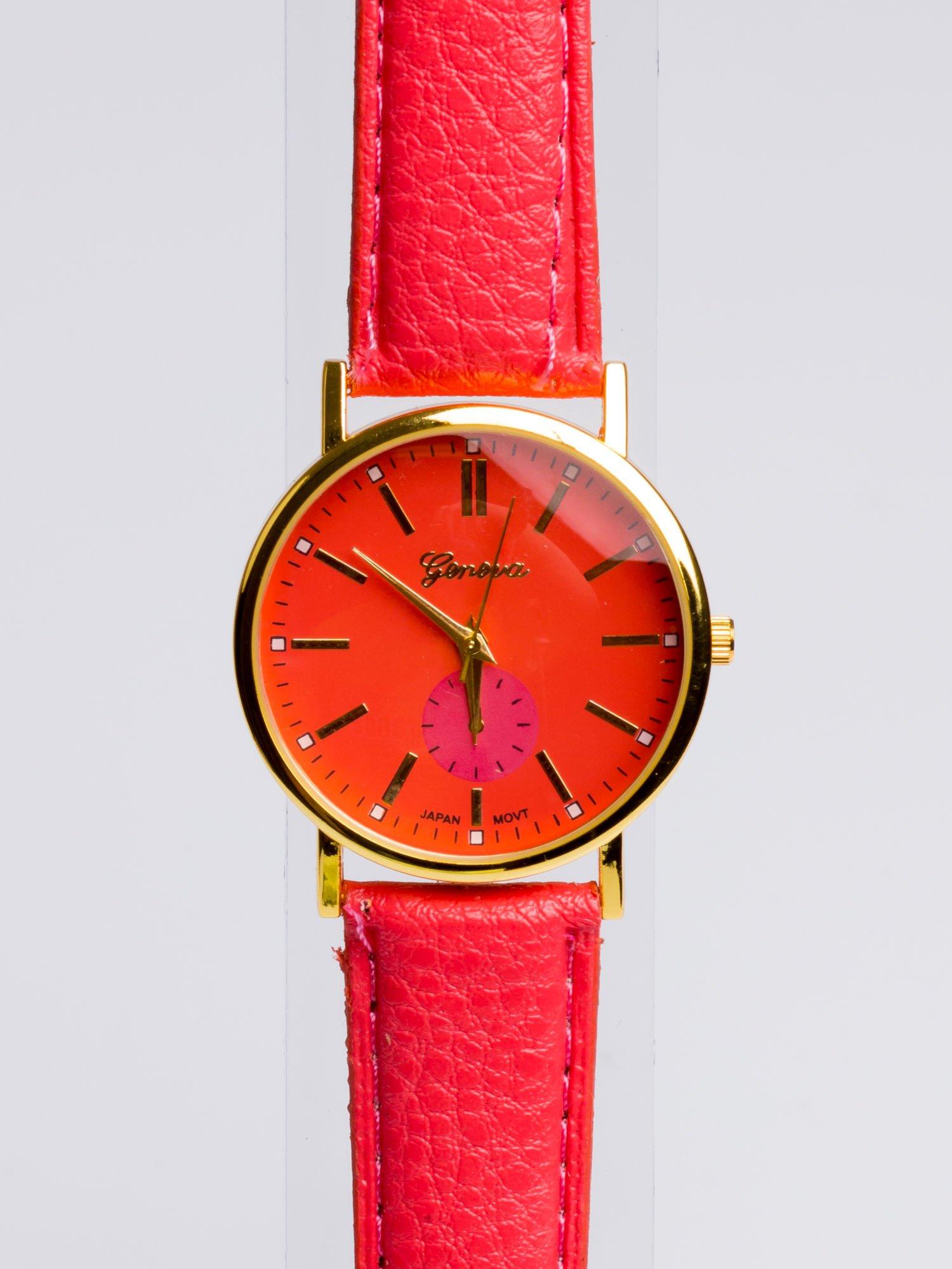 GENEVA Ciemnoróóżowy zegarek damski na skórzanym pasku                                  zdj.                                  2