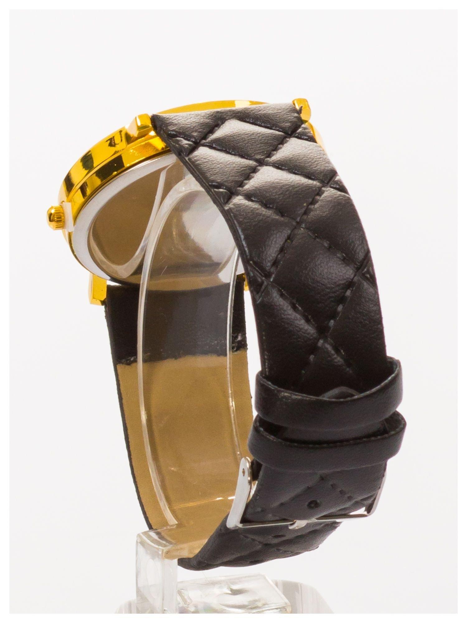 GENEVA Czarny zegarek damski na pikowanym pasku                                  zdj.                                  4
