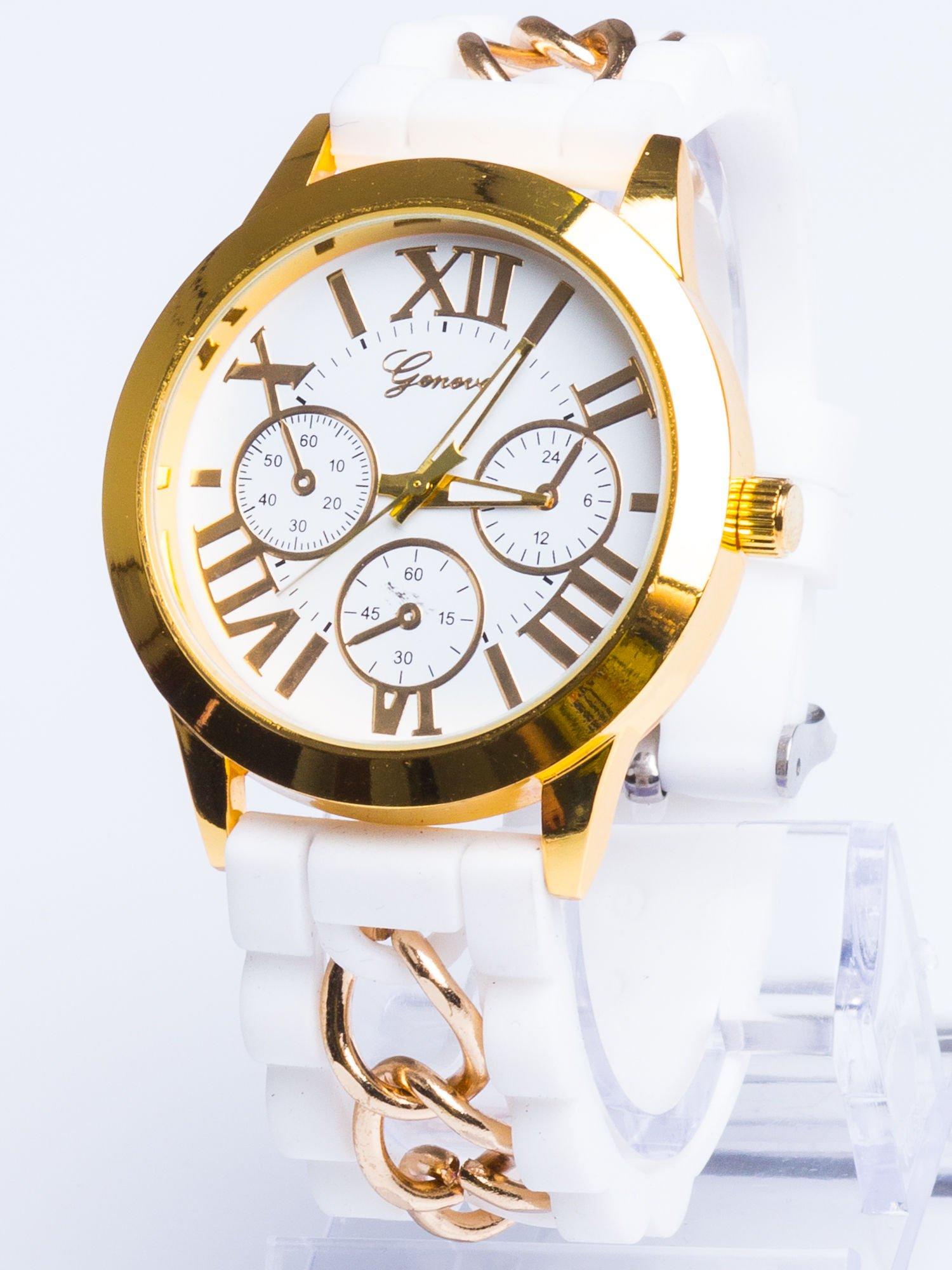 GENEVA Modny biały damski zegarek ze złotym łańcuszkiem na pasku                                  zdj.                                  1