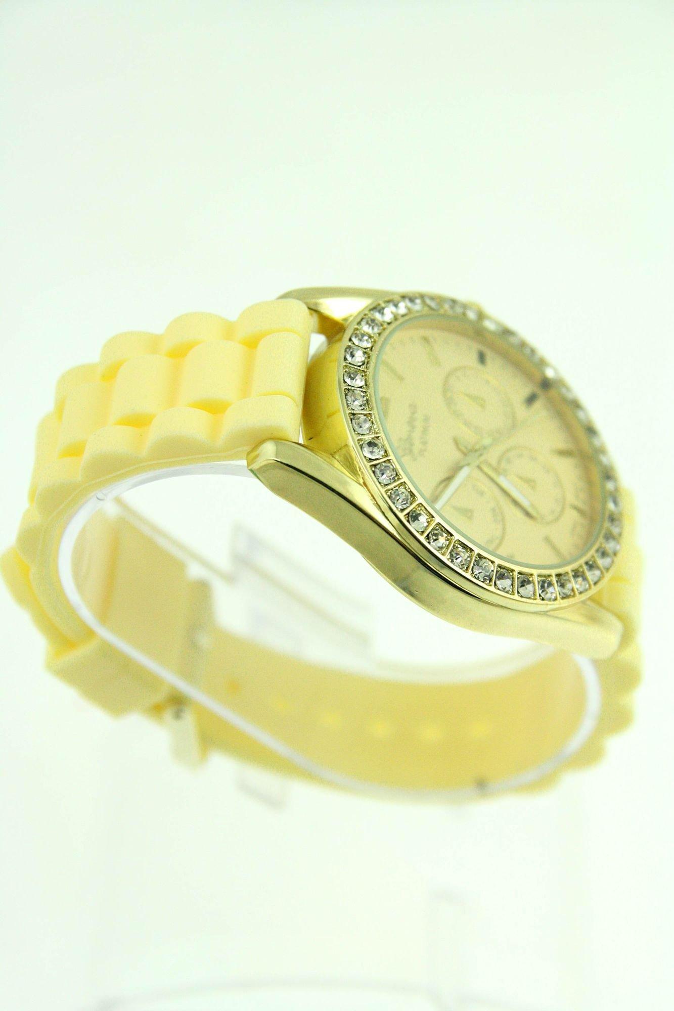 GENEVA Morelowy zegarek damski z cyrkoniami na silikonowym pasku                                  zdj.                                  2