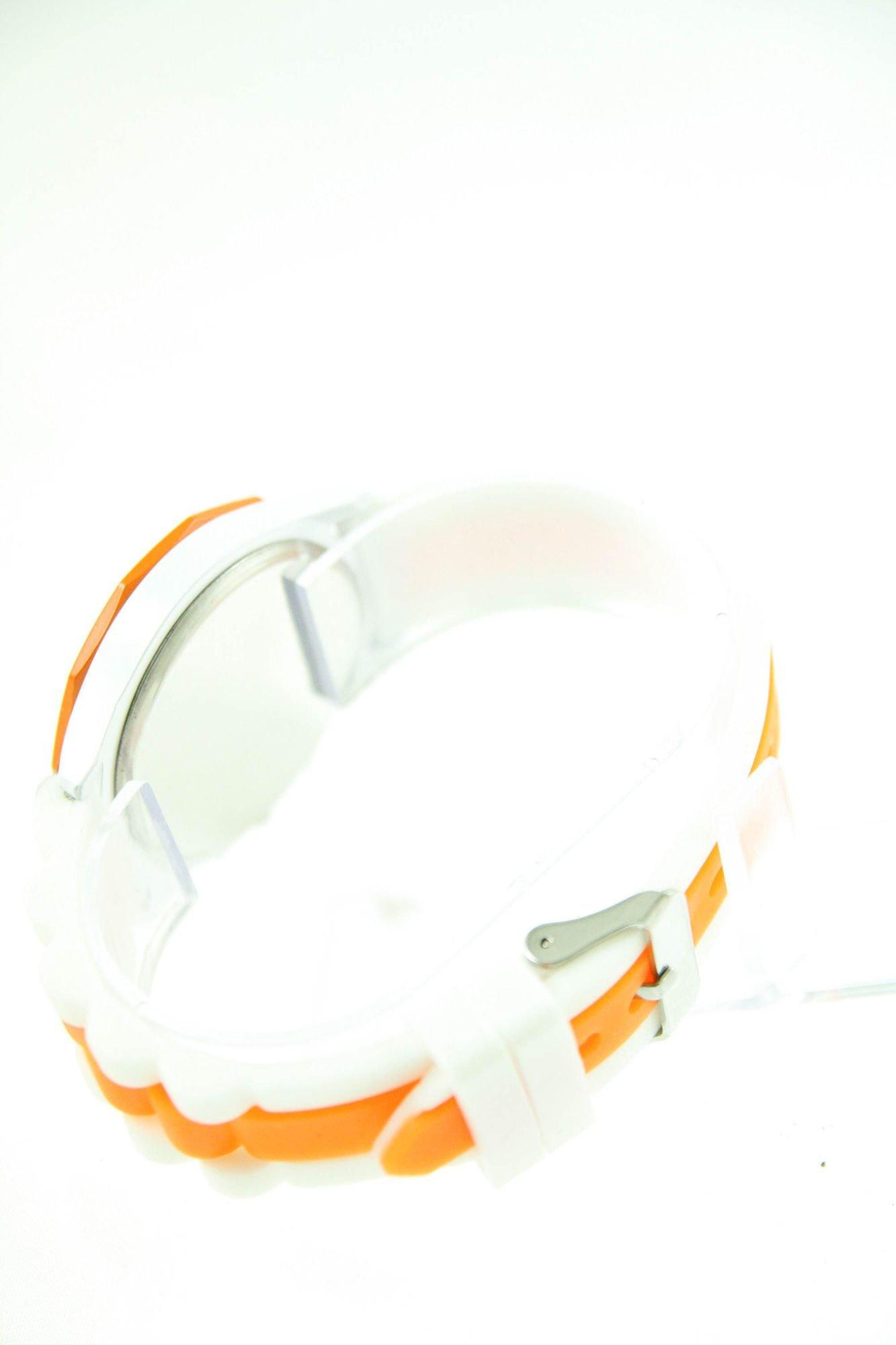 GENEVA Pomarańczowo-biały zegarek damski na silikonowym pasku                                   zdj.                                  3