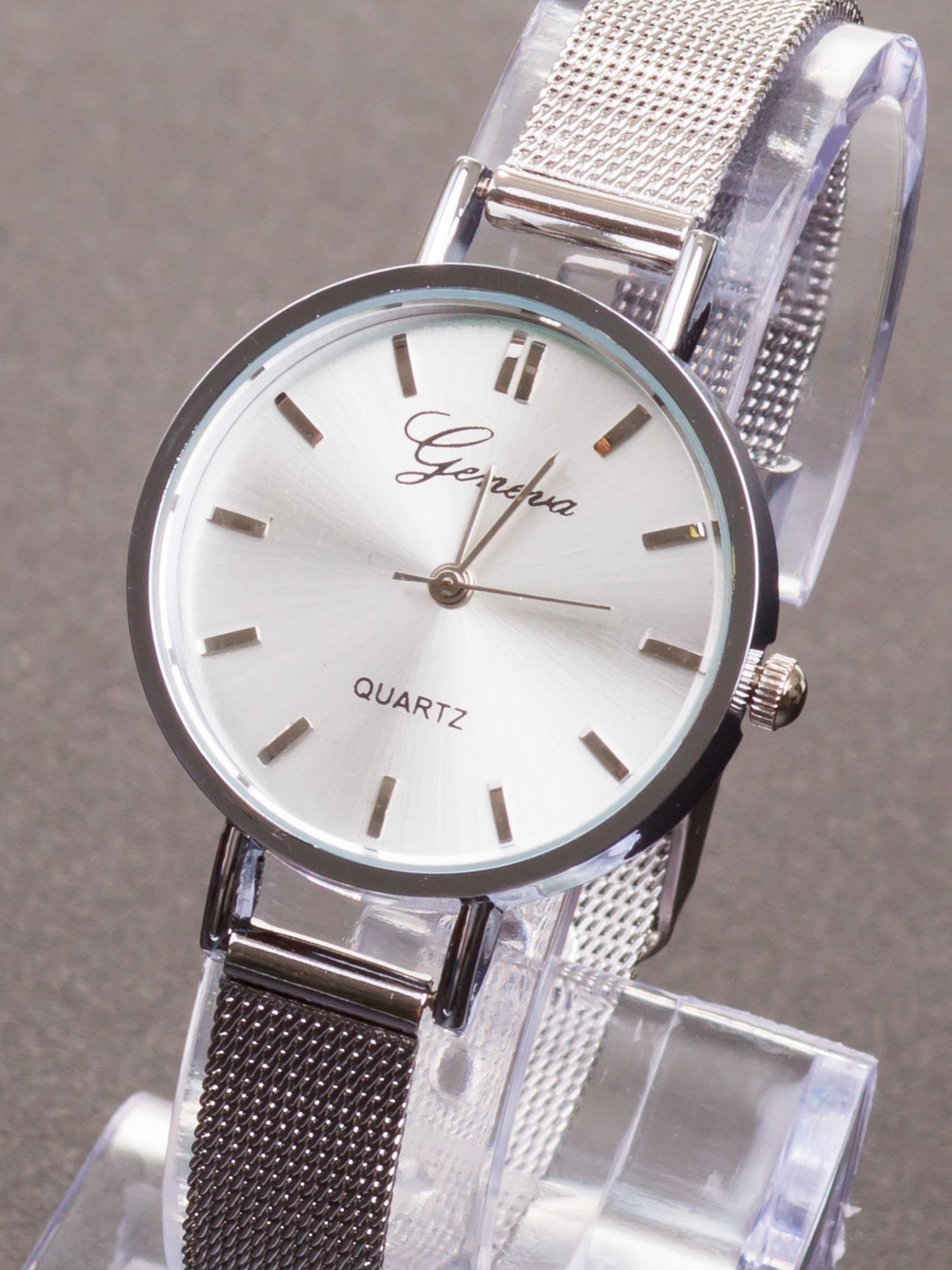 GENEVA Srebrny prosty zegarek damski na bransolecie                                  zdj.                                  3