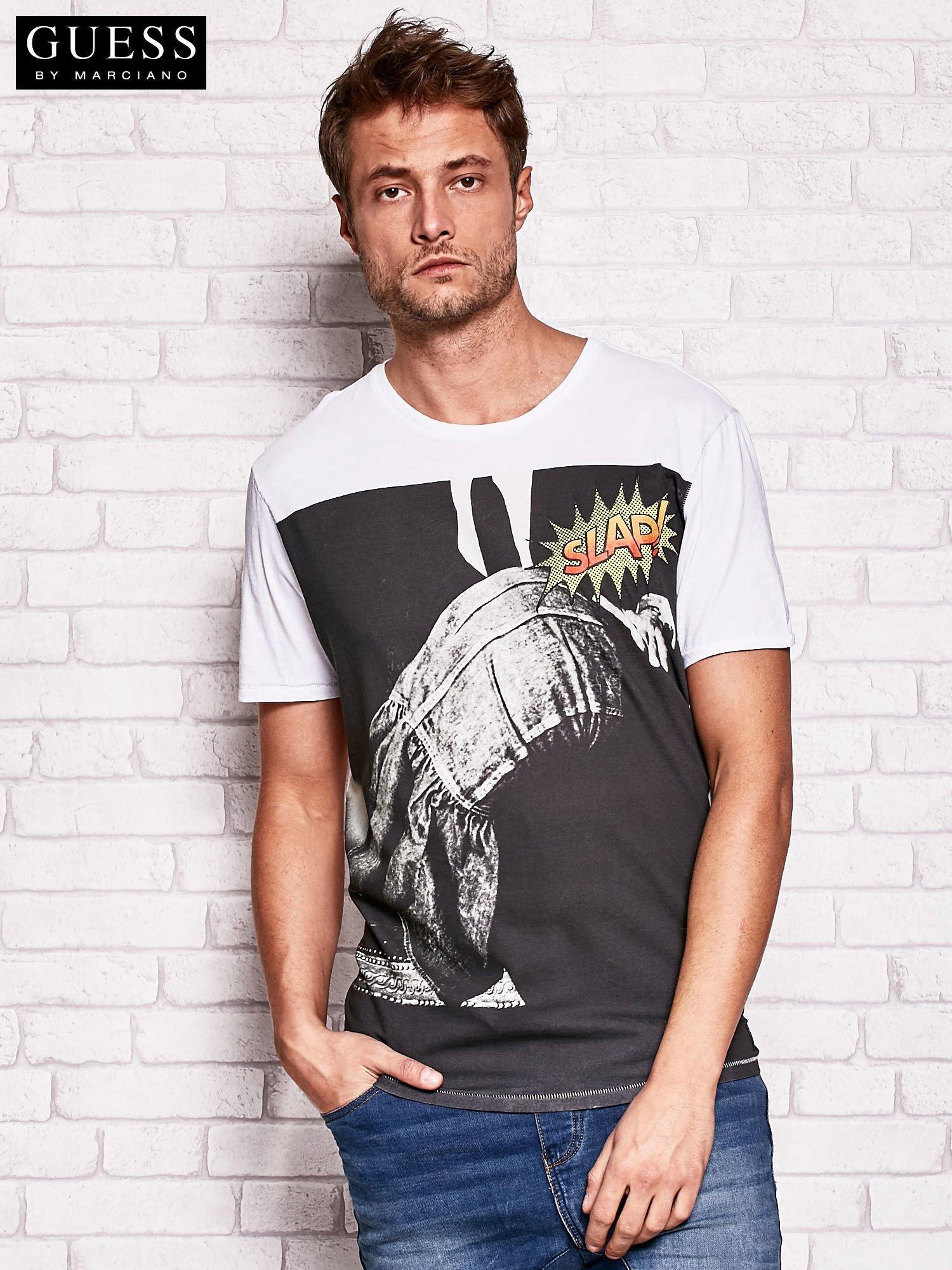 a37a77d20b3e9 GUESS Biały t-shirt męski z nadrukiem - Mężczyźni T-shirt męski ...