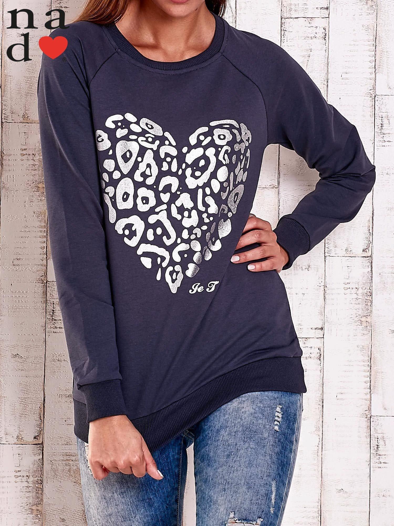 Grafitowa bluza z nadrukiem serca i napisem JE T'AIME                                   zdj.                                  1