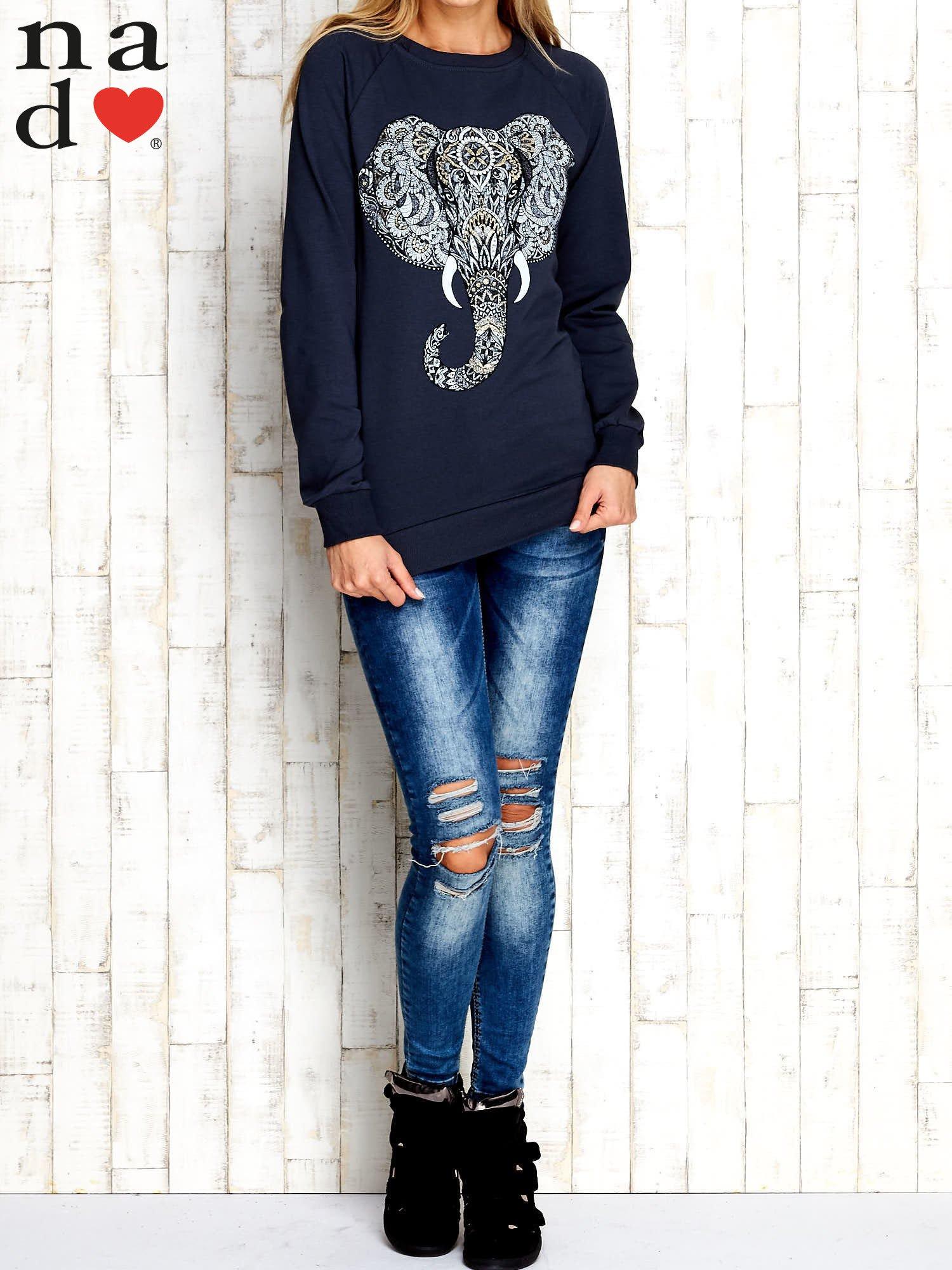 Grafitowa bluza z nadrukiem słonia                                  zdj.                                  2