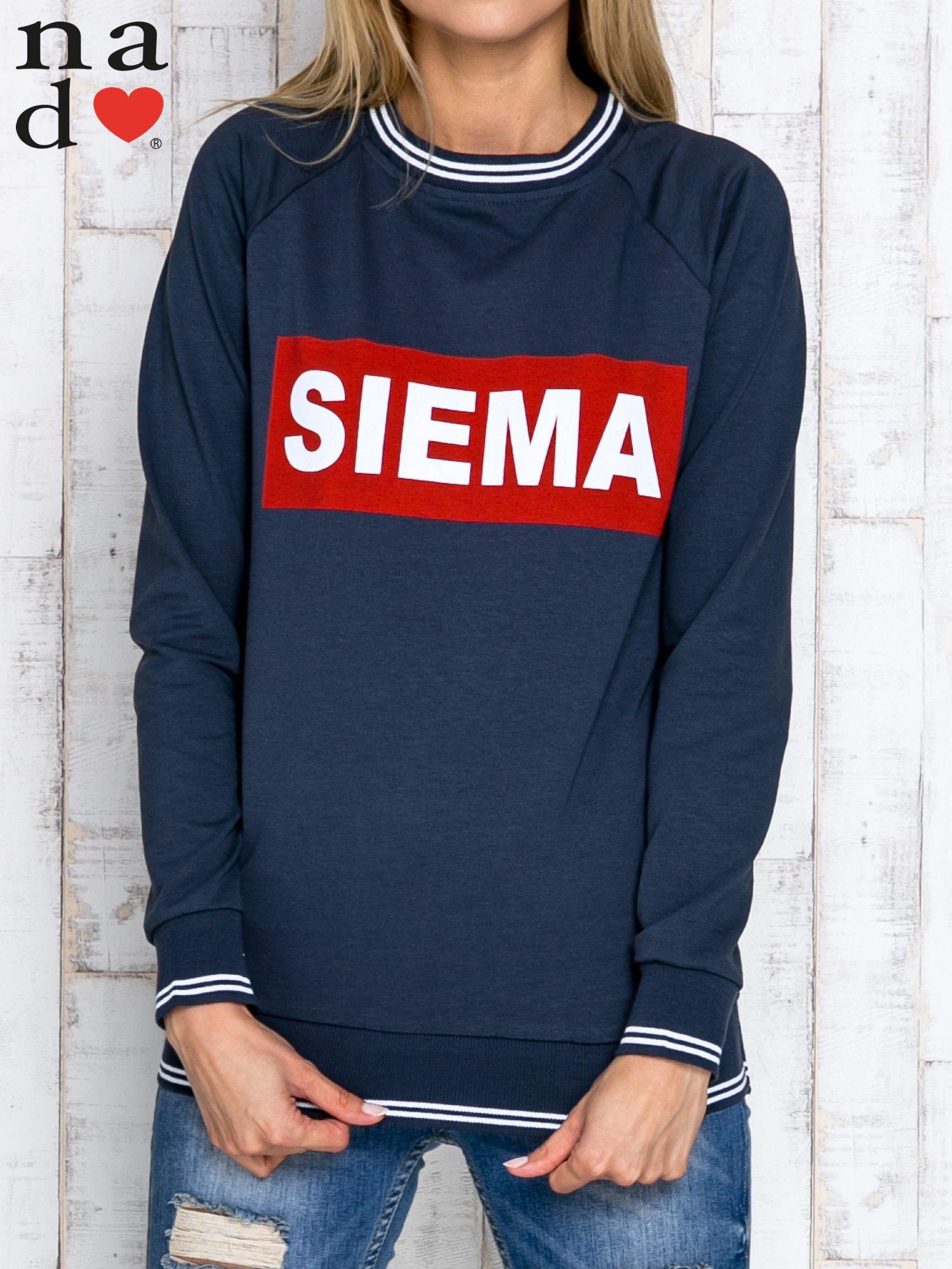 Grafitowa bluza z napisem SIEMA                                  zdj.                                  1