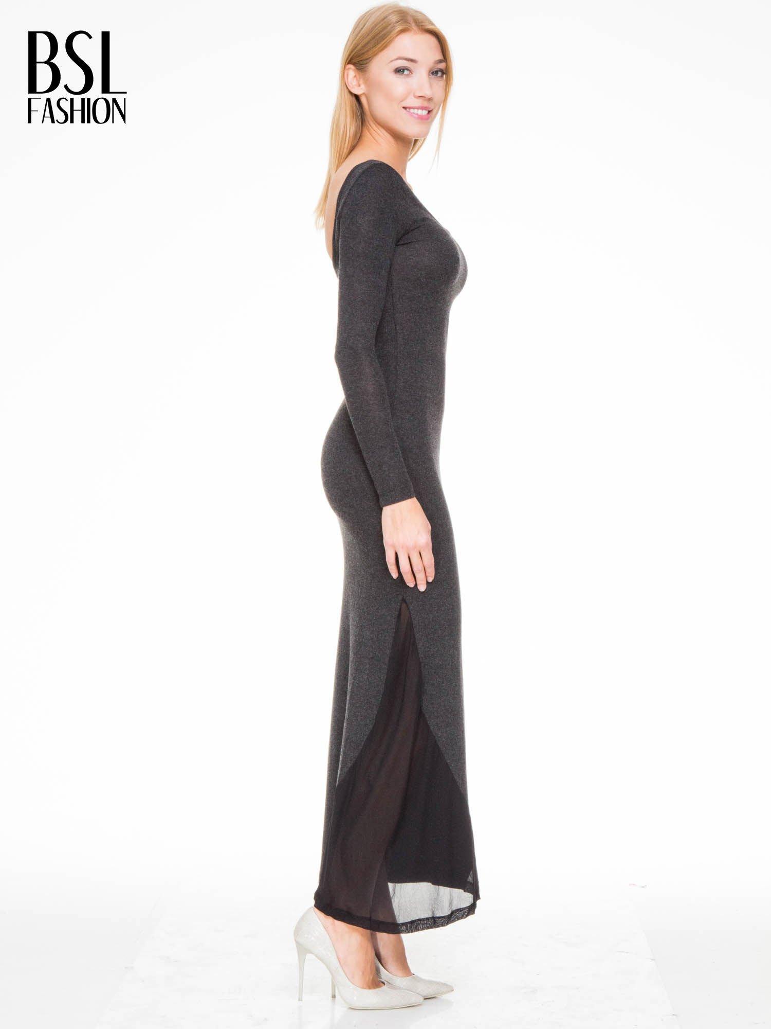 Grafitowa maxi sukienka z asymetryczną wstawką na dole z tiulu                                  zdj.                                  3