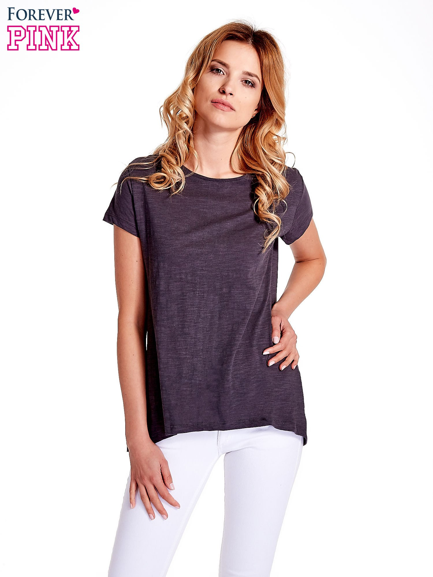 Grafitowy jednolity t-shirt                                  zdj.                                  1