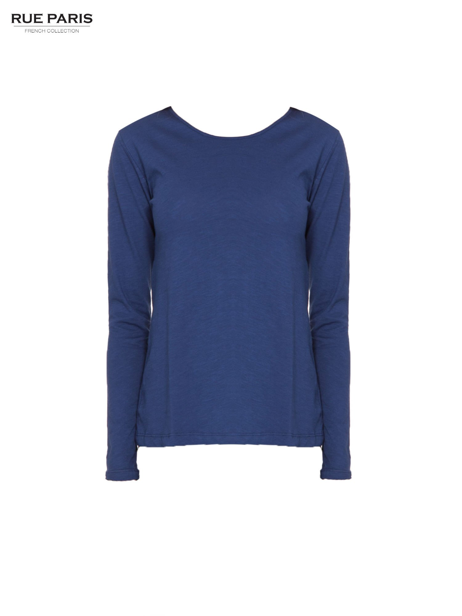 Granatowa basicowa bluzka z długim rękawem                                  zdj.                                  5