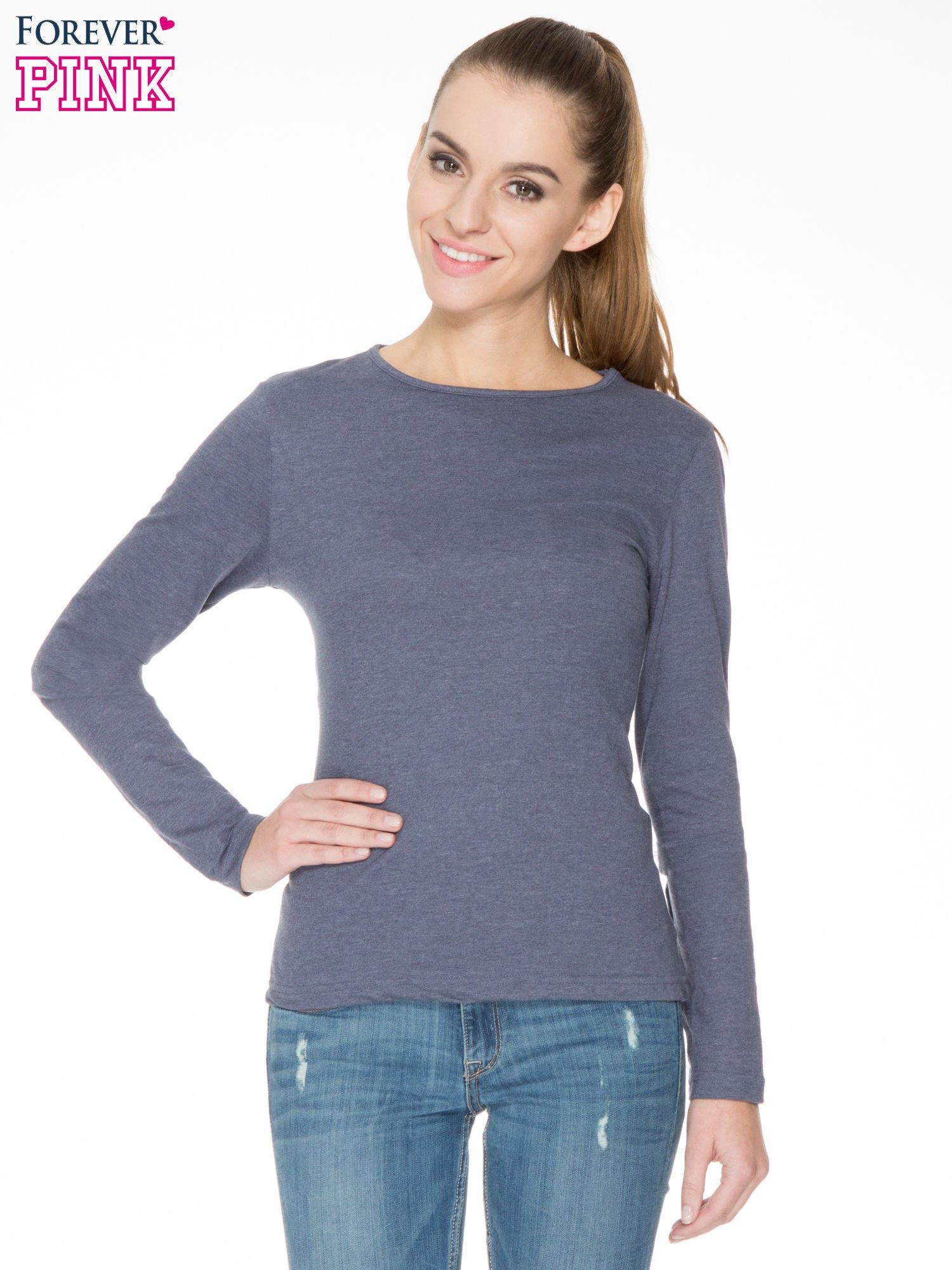 Granatowa bawełniana bluzka typu basic z długim rękawem                                  zdj.                                  1