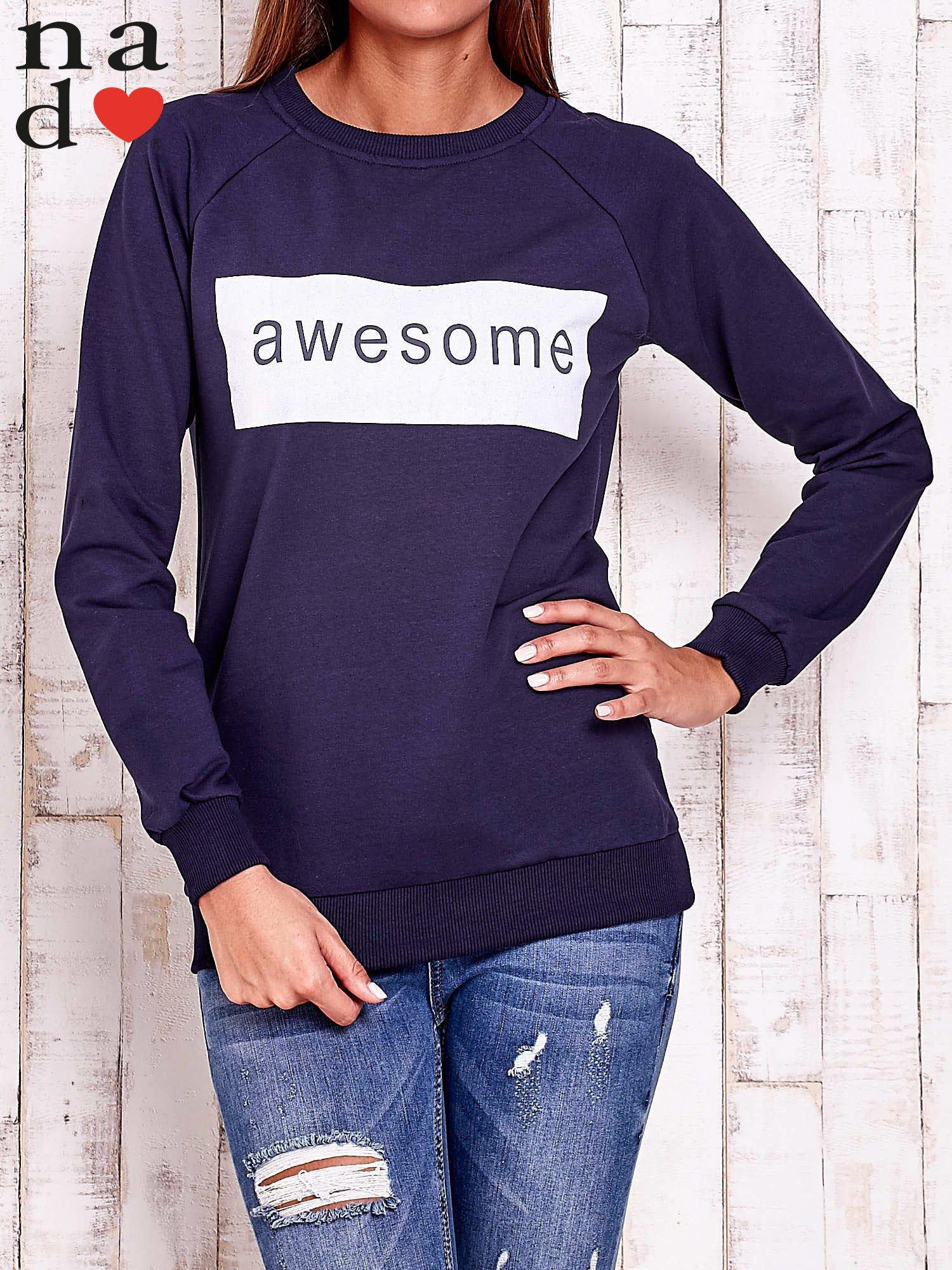 Granatowa bluza z napisem AWESOME                                  zdj.                                  1