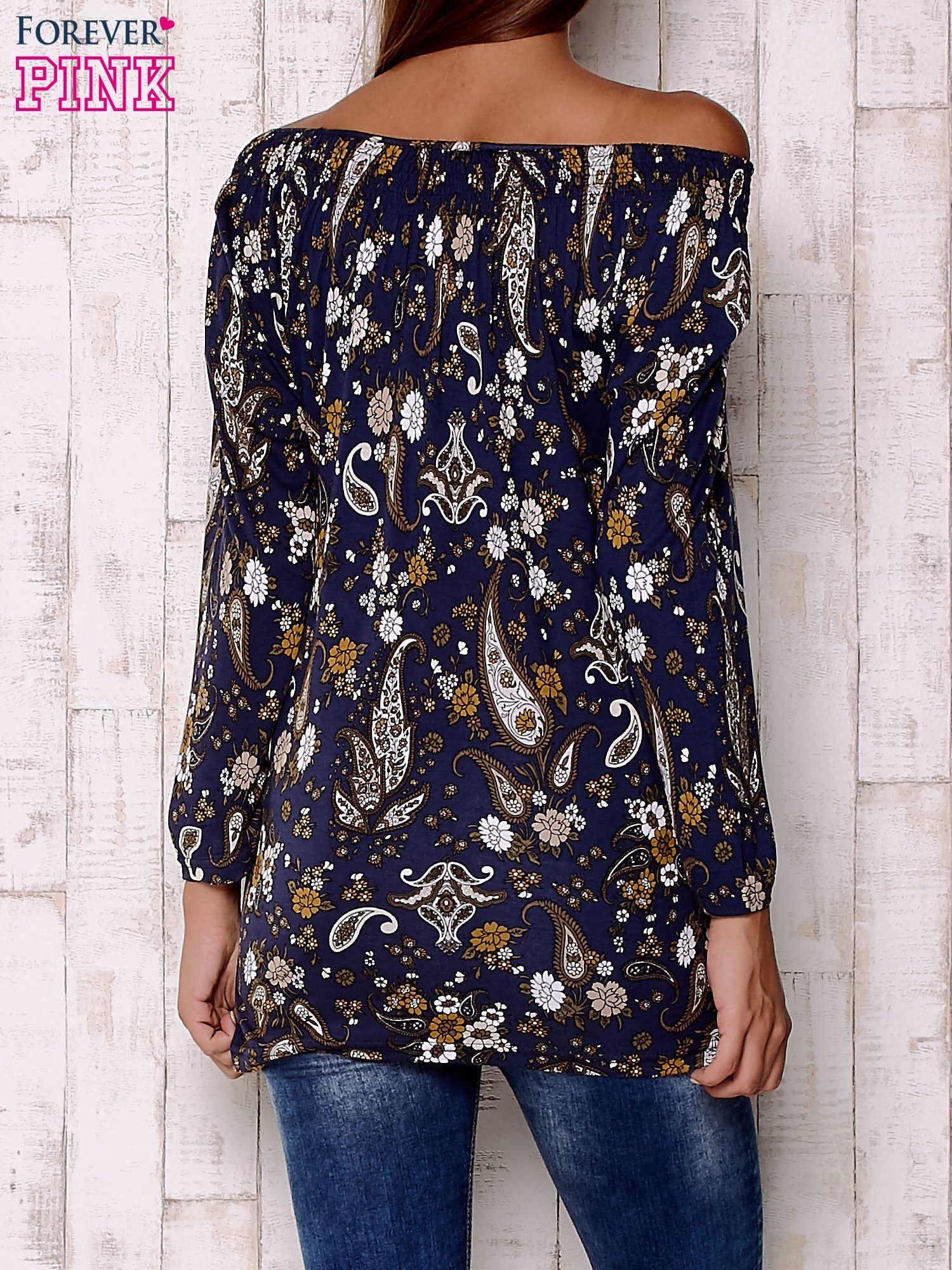 Granatowa bluzka z motywem paisley                                  zdj.                                  4