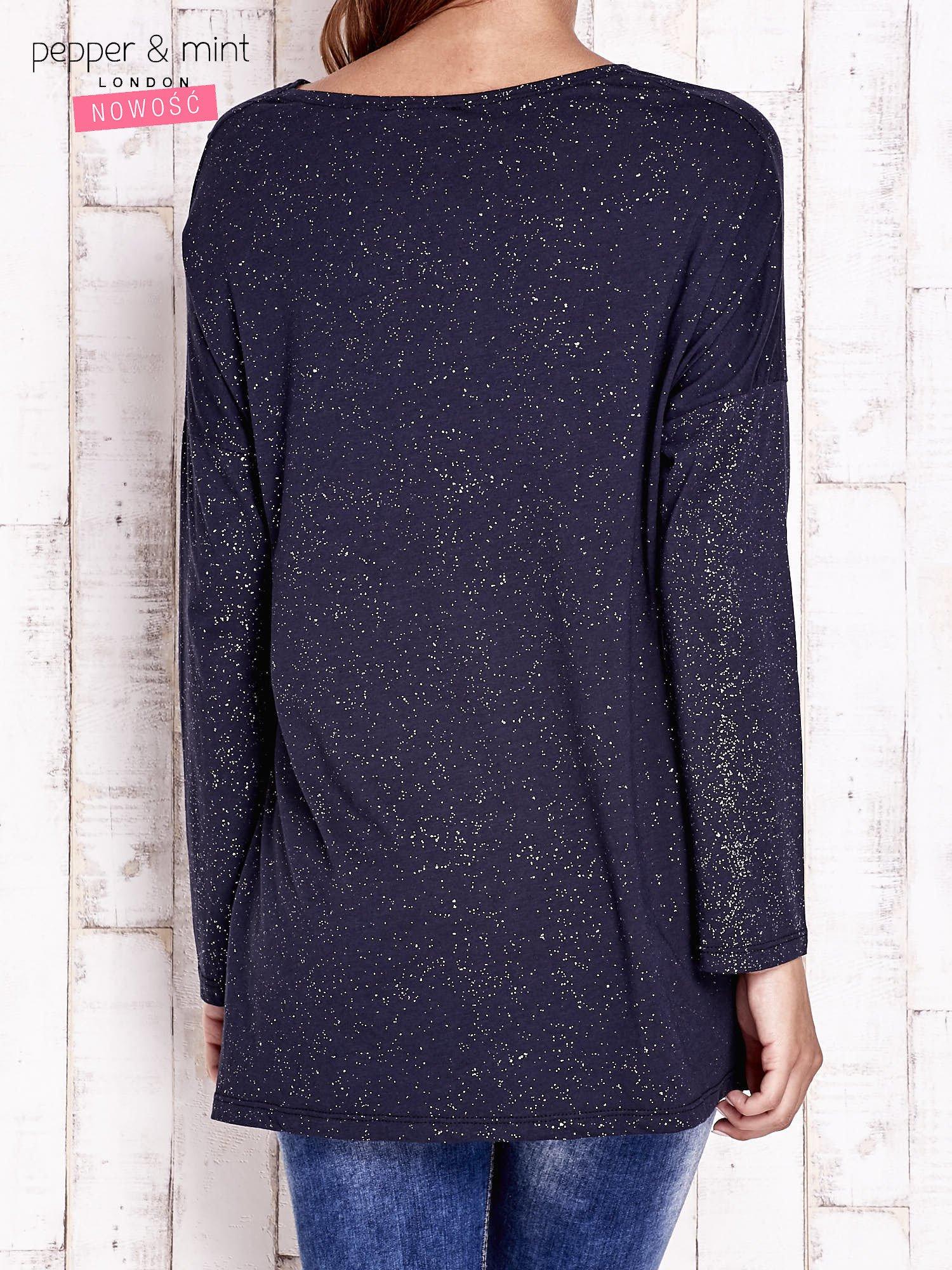 Granatowa brokatowa bluzka oversize                                  zdj.                                  4