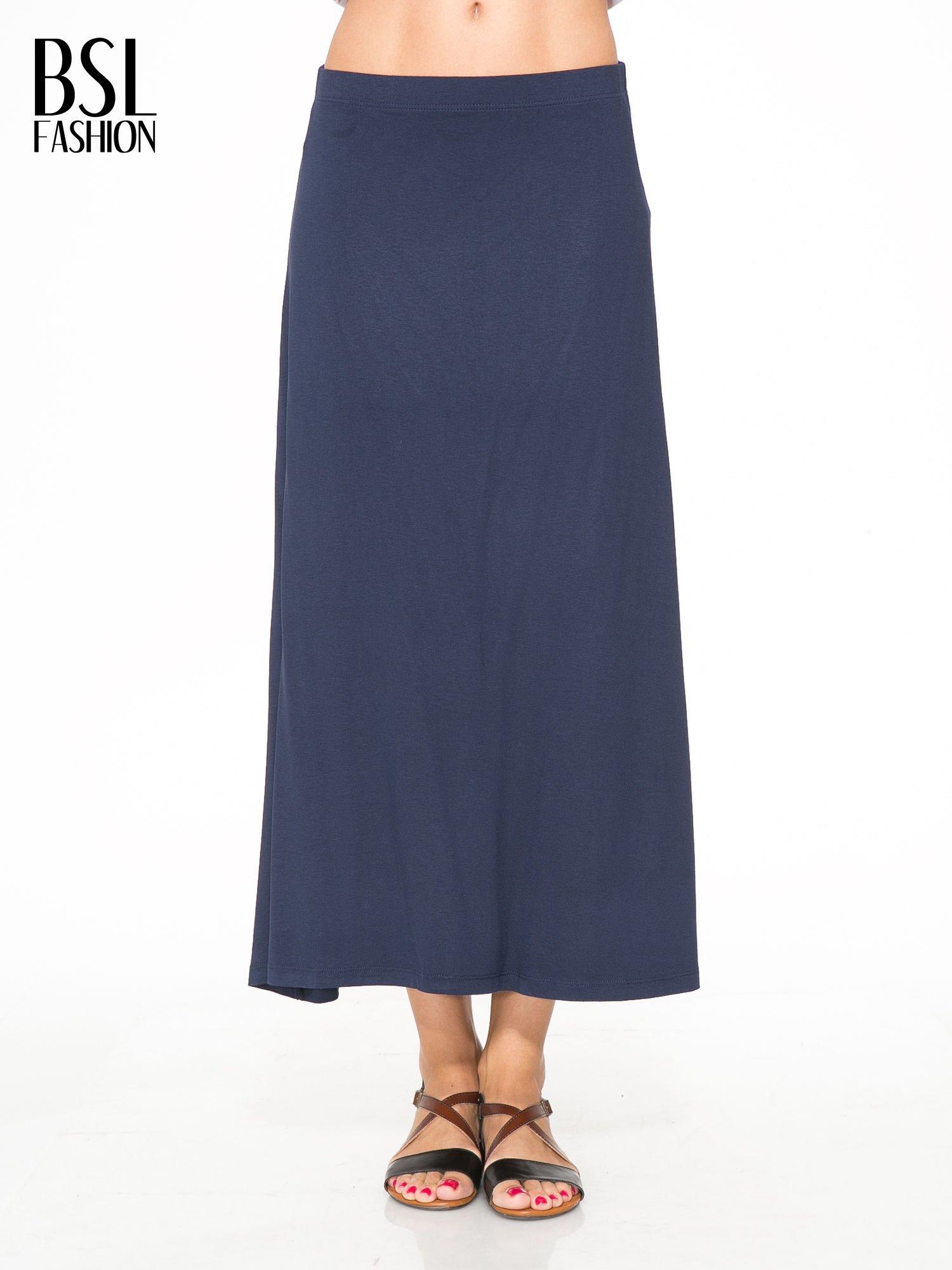 Granatowa długa spódnica maxi na gumkę                                  zdj.                                  1