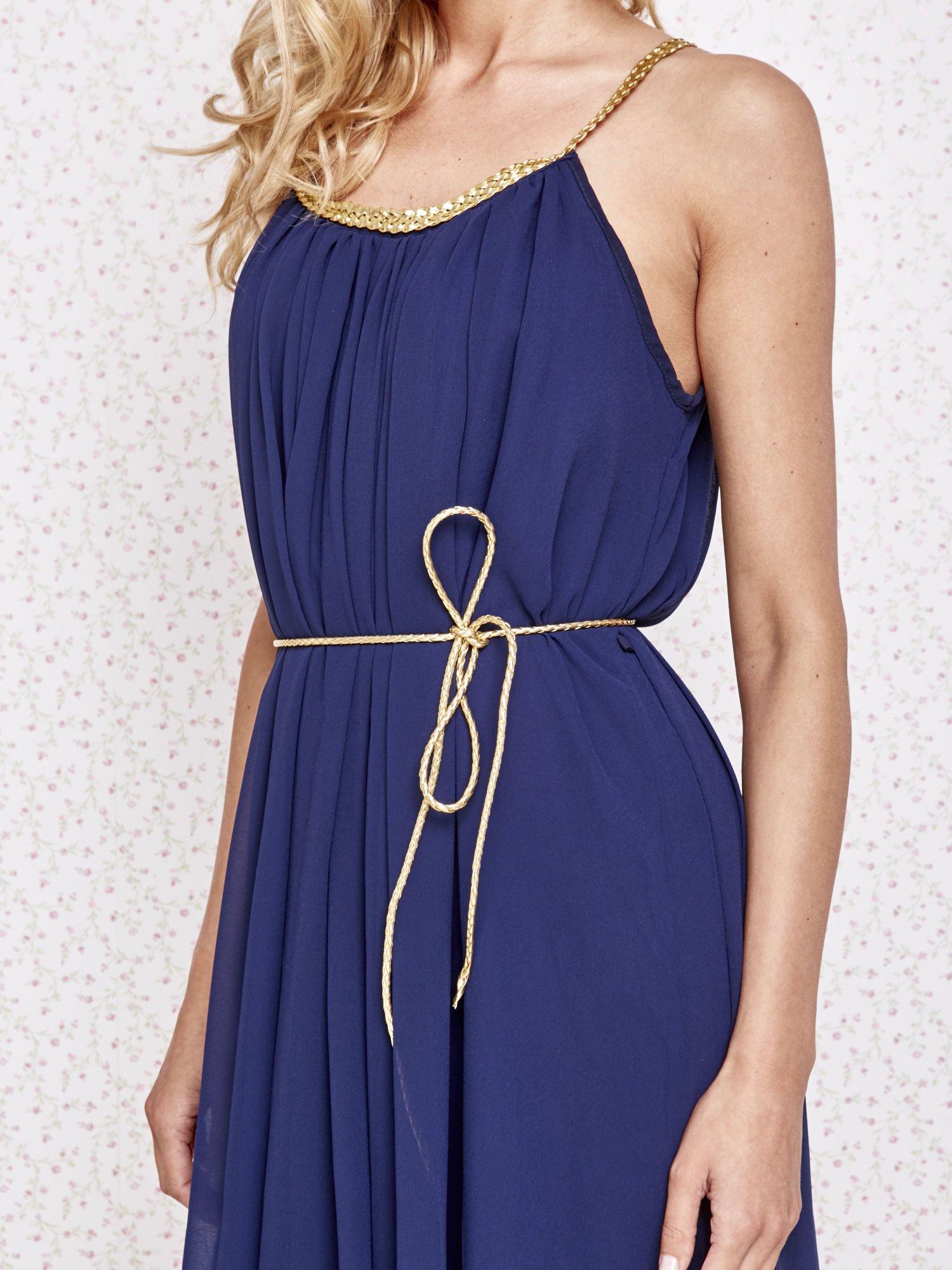 Granatowa grecka sukienka ze złotym paskiem                                  zdj.                                  5
