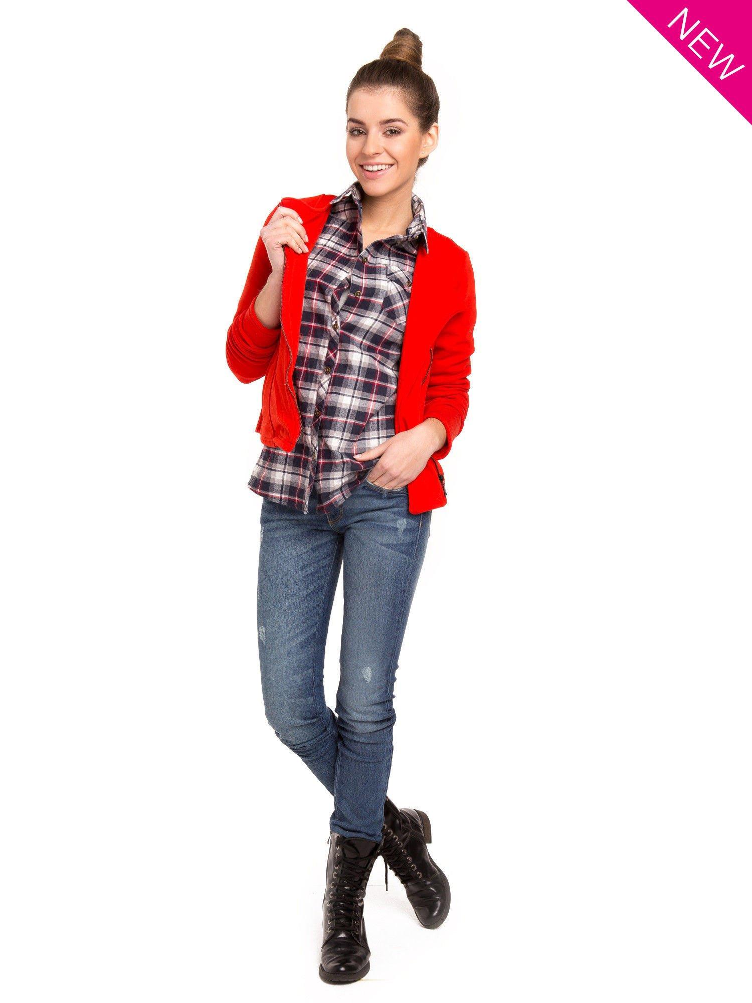 Granatowa koszula w kratę z kieszonką z przodu                                  zdj.                                  3