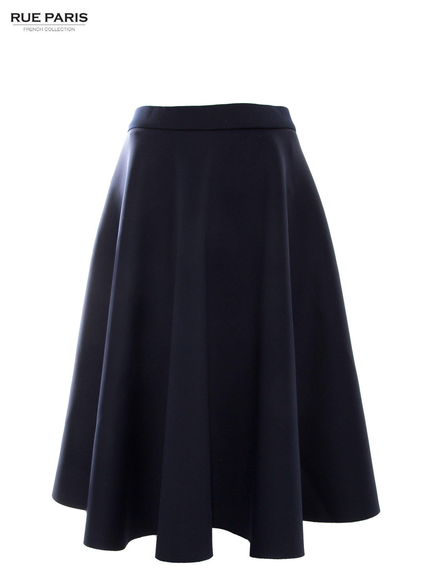 Granatowa neoprenowa spódnica midi szyta z koła                                  zdj.                                  2