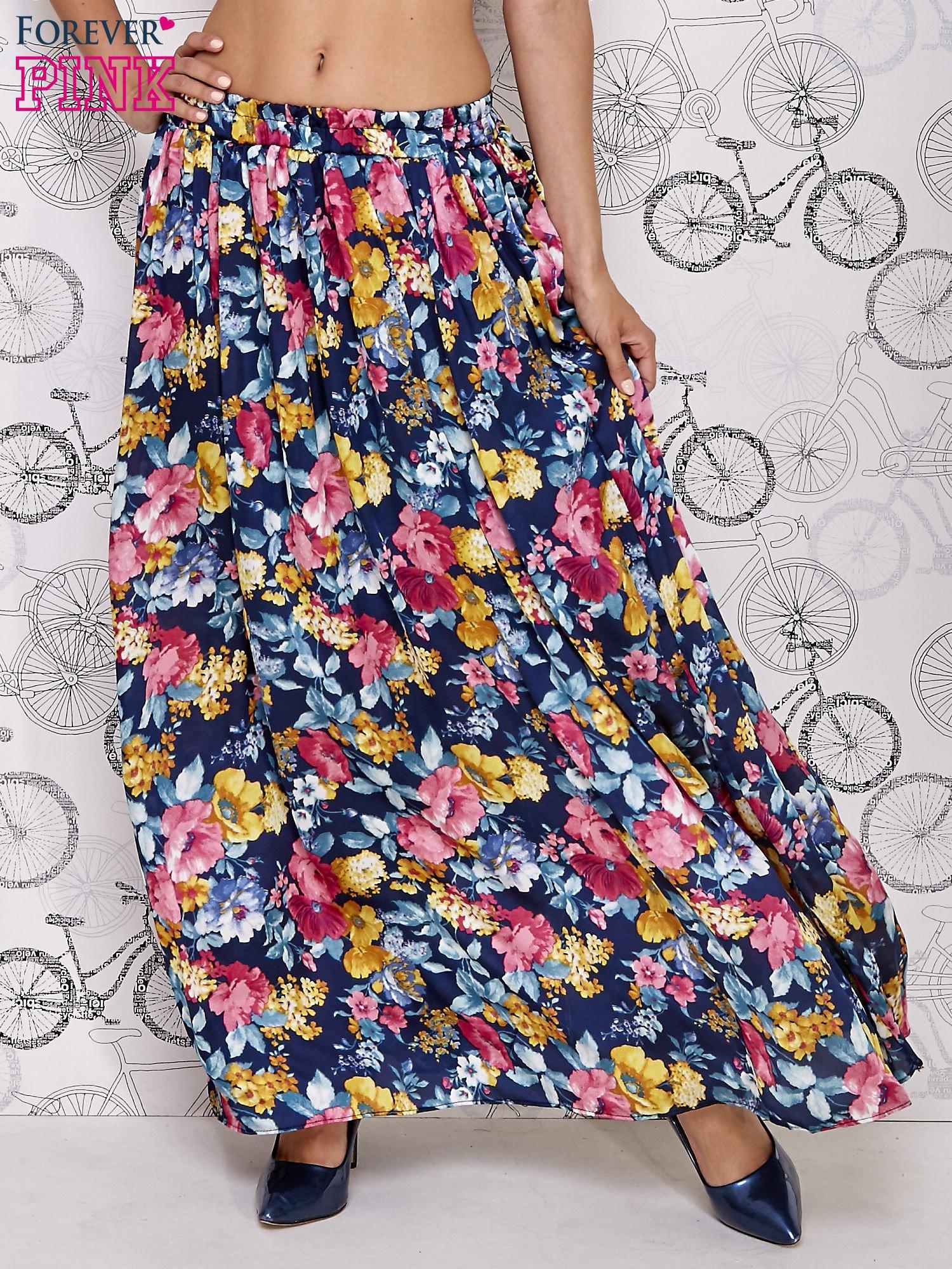 Granatowa spódnica maxi w kwiaty                                  zdj.                                  1